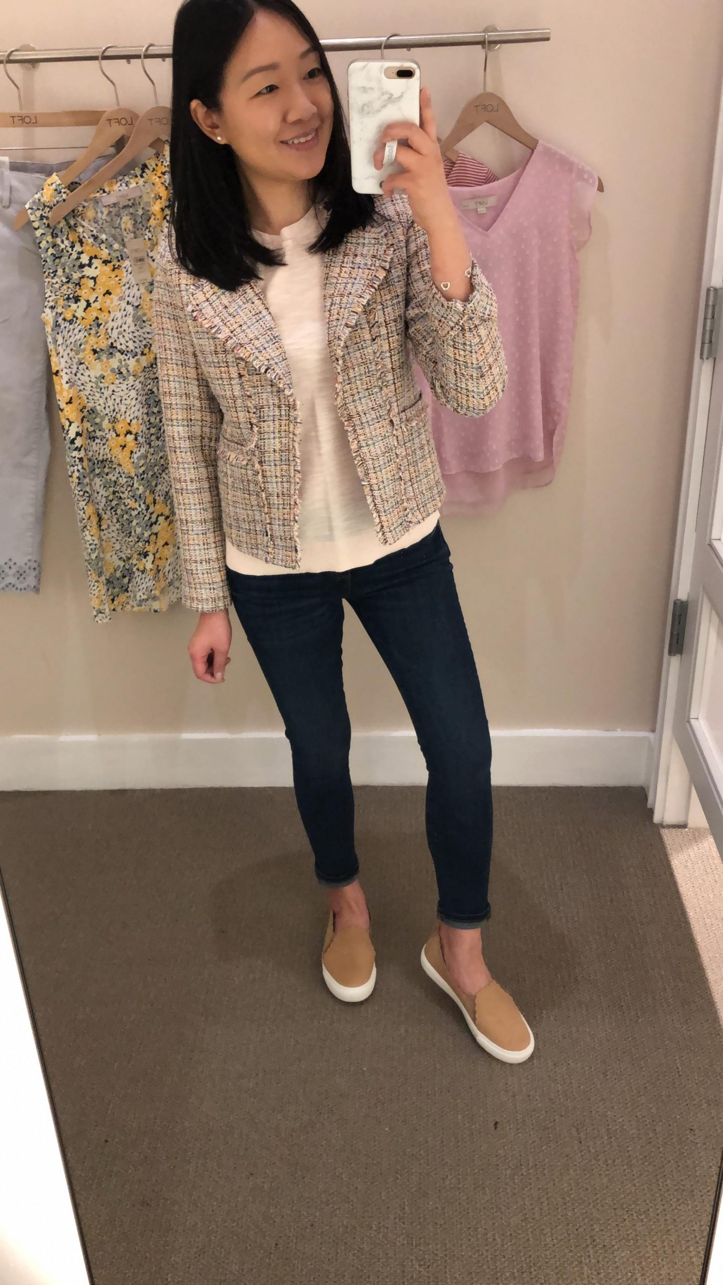 LOFT Frayed Tweed Jacket, size 00P