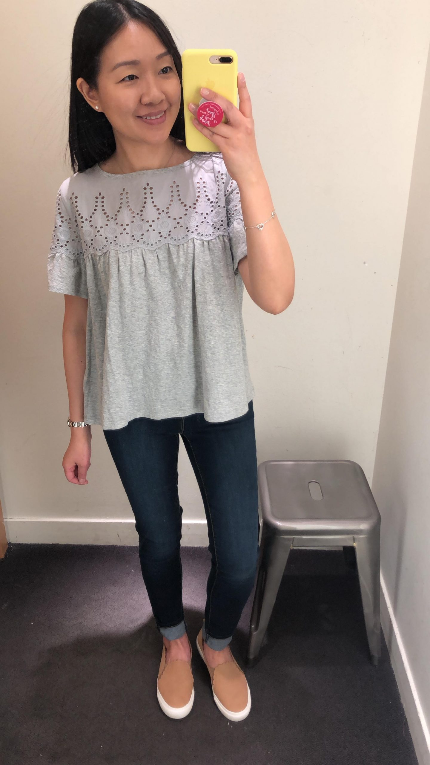 J.Crew Eyelet Top in Vintage Cotton, size XS