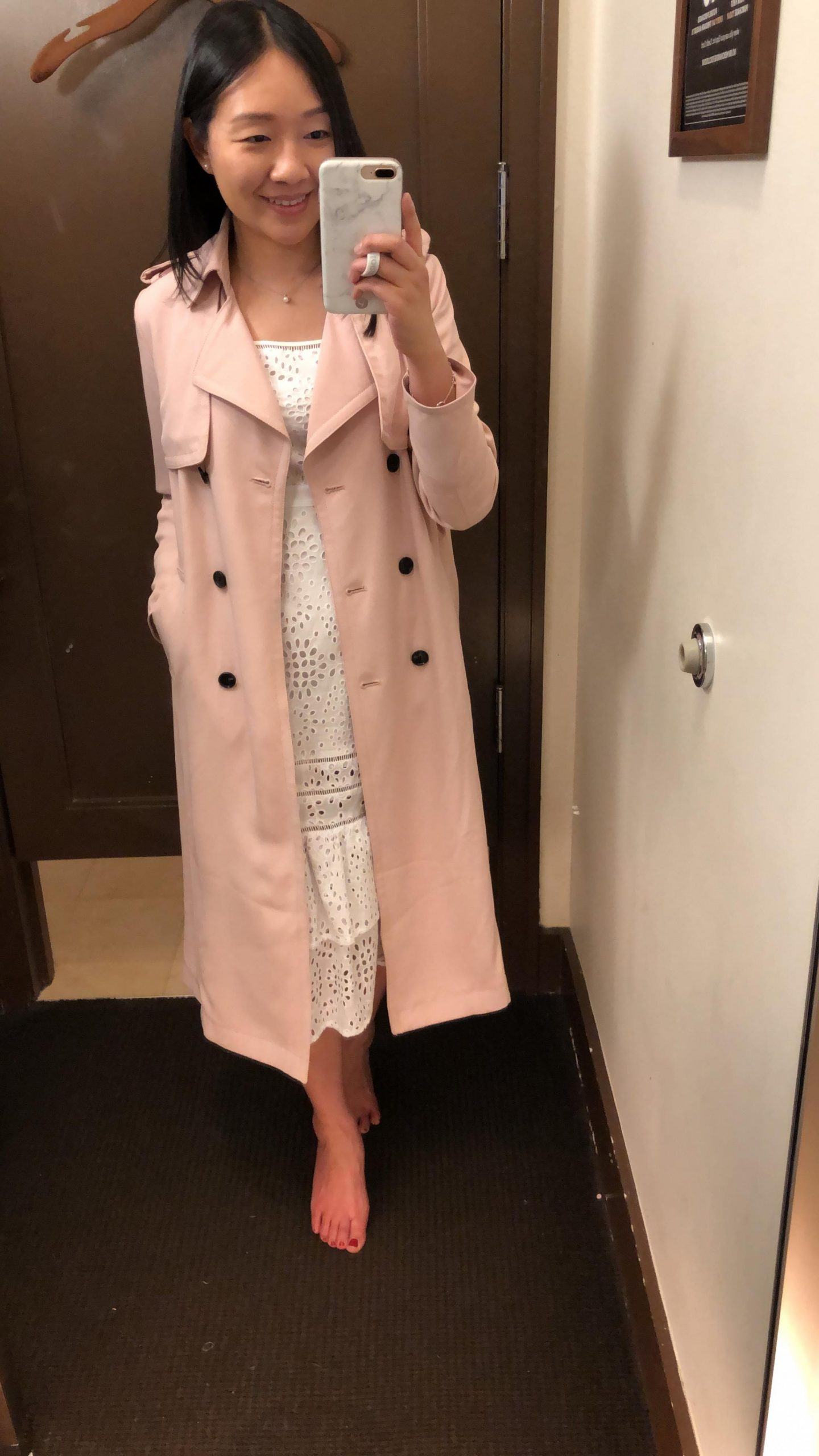 Banana Republic Maxi Trench Coat in pink blush, size XSP