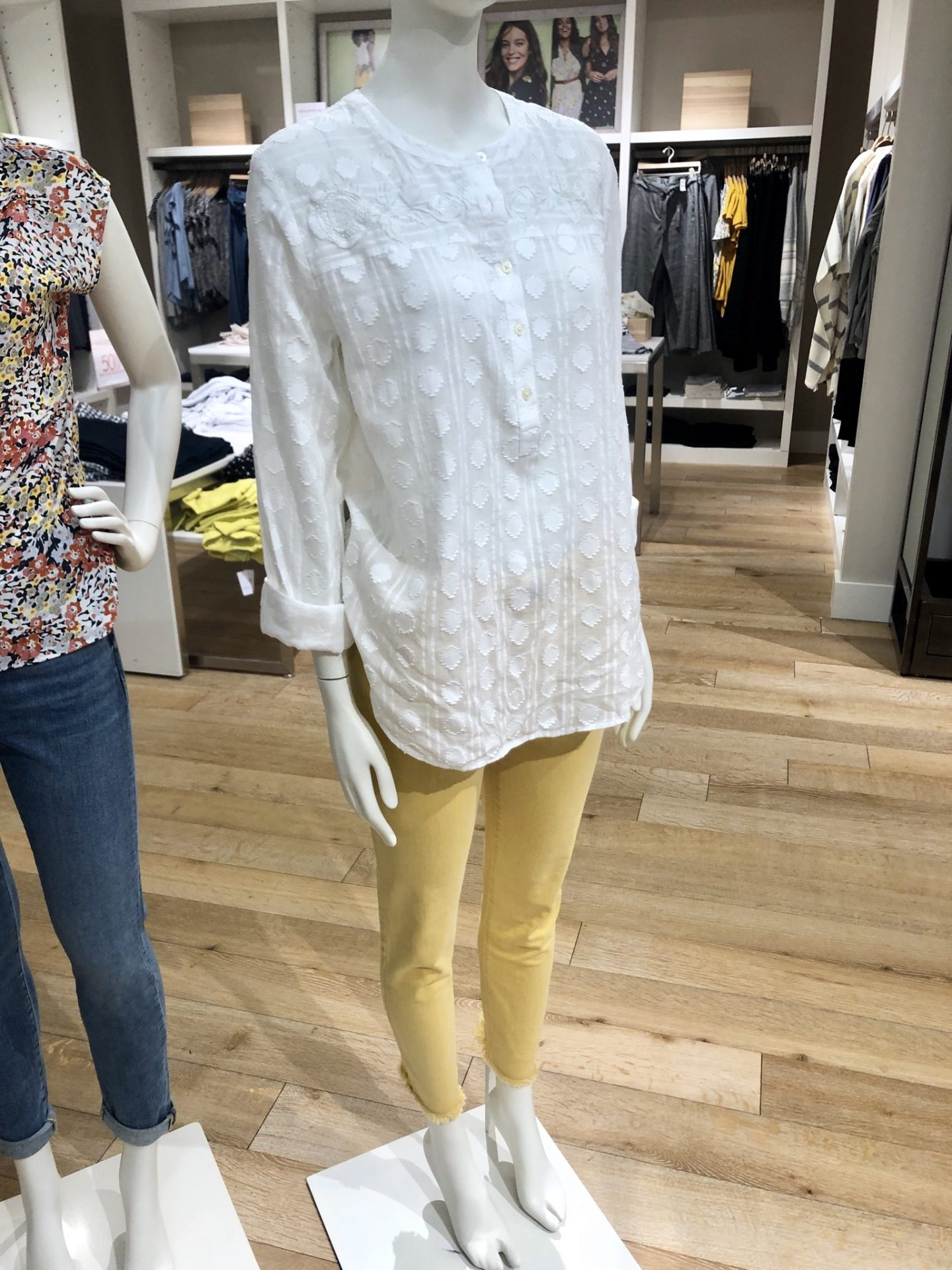 LOFT Textured Pattern Henley Blouse