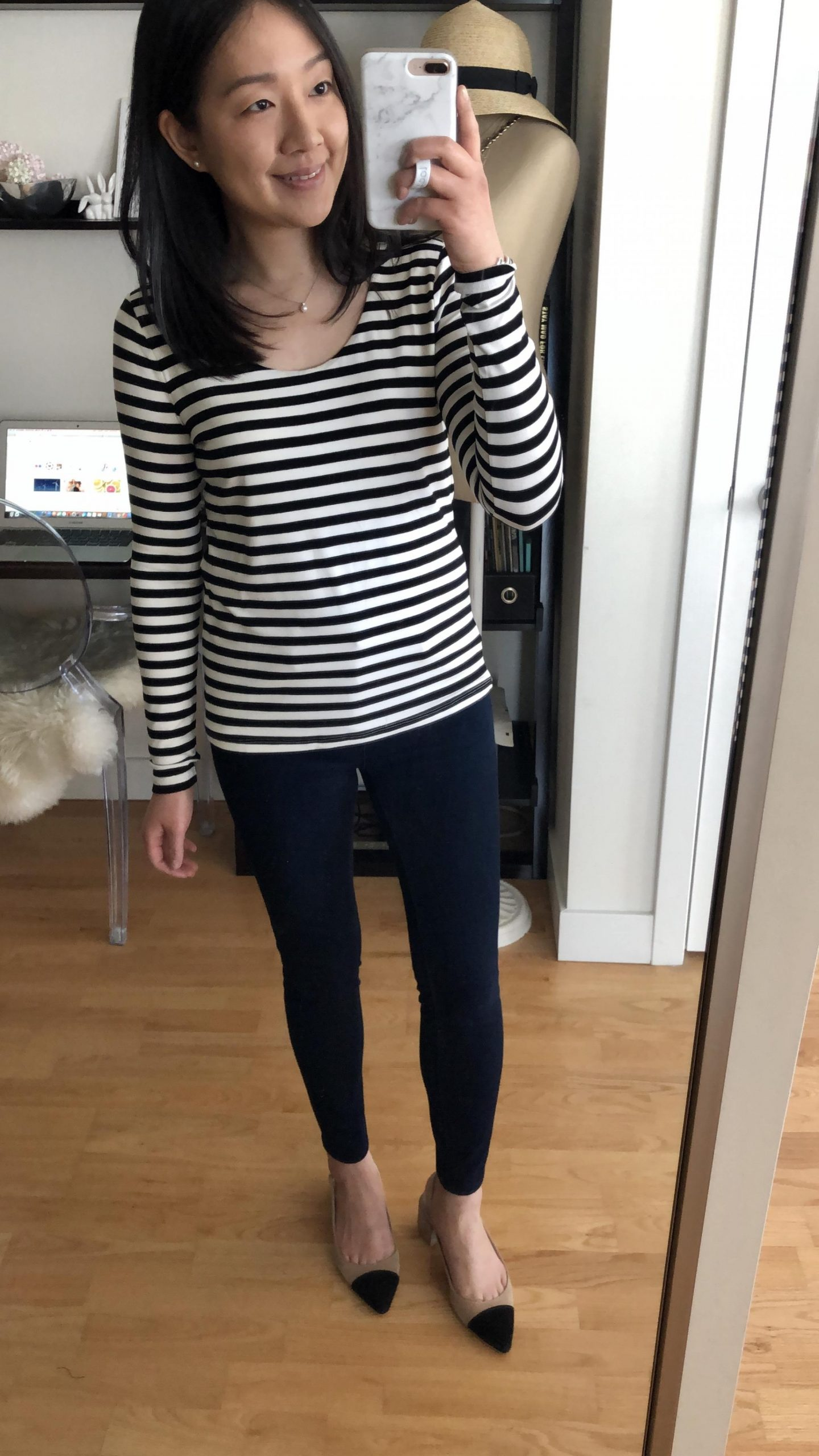 Ann Taylor Factory Striped Long Sleeve Scoop Neck Tee, size SP