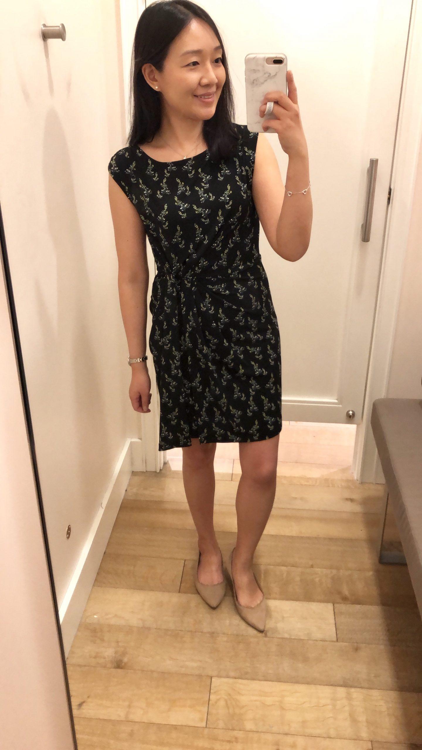 LOFT Floral Side Shirred Dress, size XSP