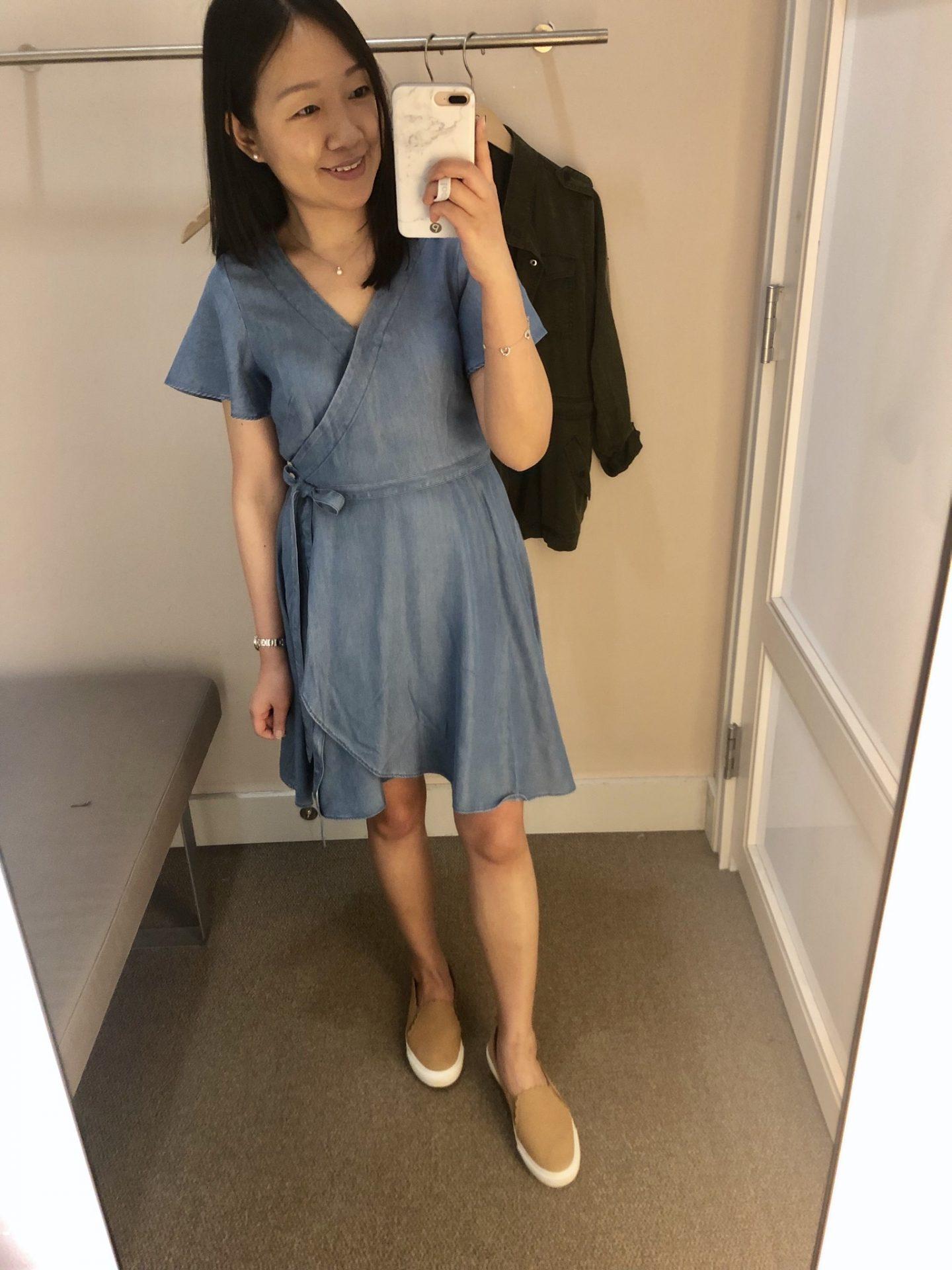 LOFT Chambray Wrap Dress, size 0P