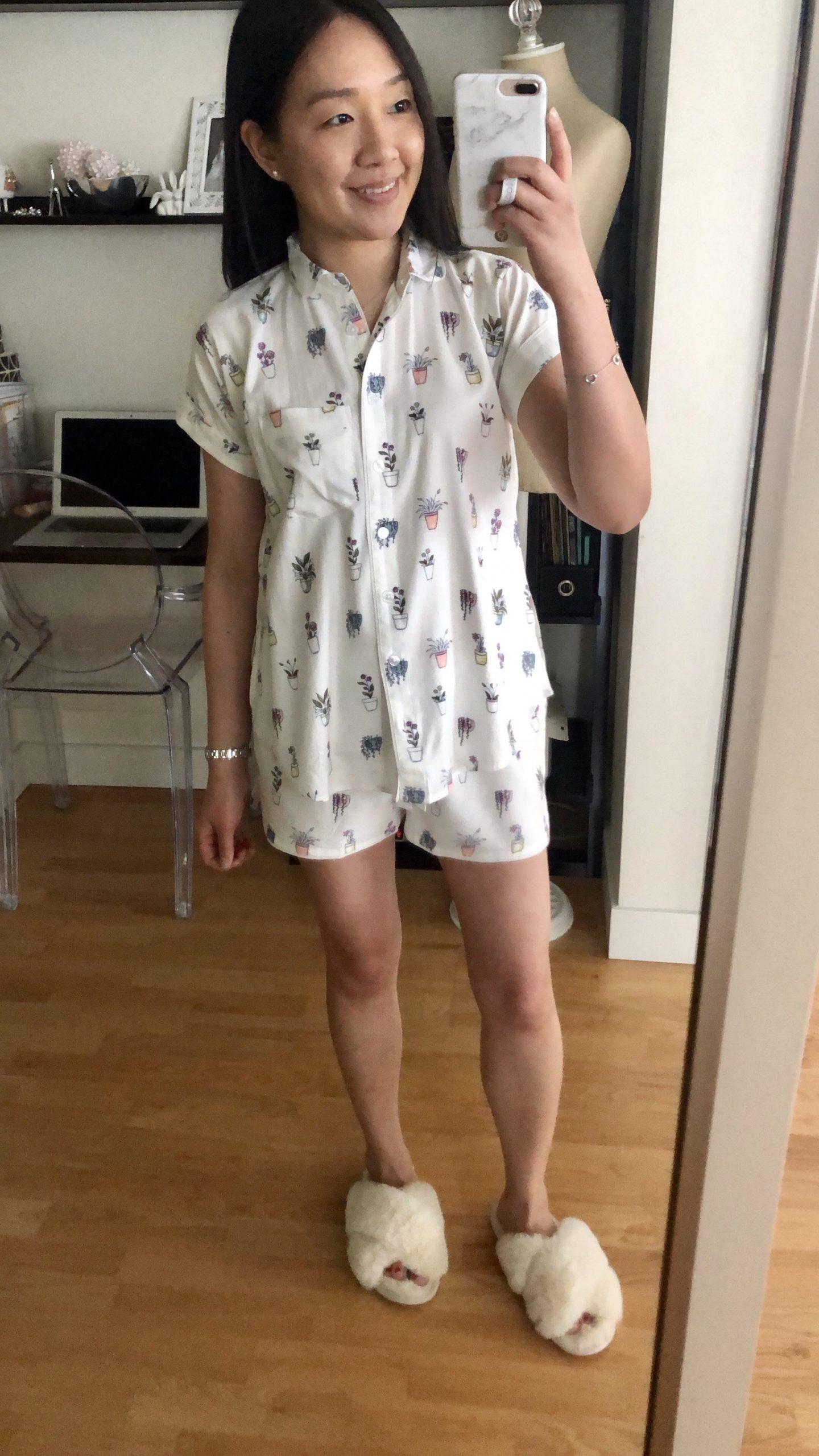 LOFT Pretty Plant Short Pajama Set, size XXS regular
