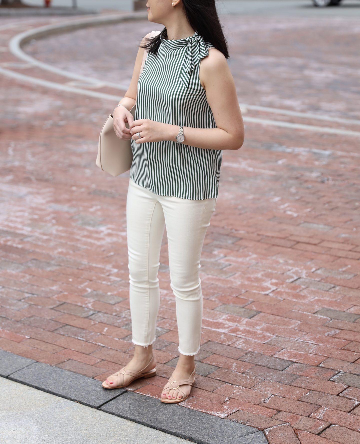Ann Taylor Stripe Tie Neck Shell, size XSP
