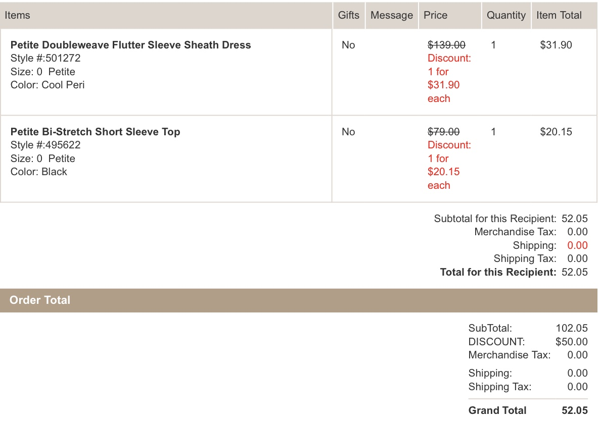 Ann Taylor Order Example