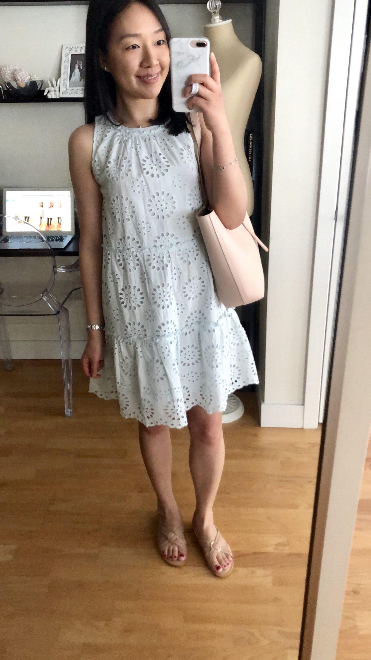 LOFT Tiered Eyelet Dress, size XSP