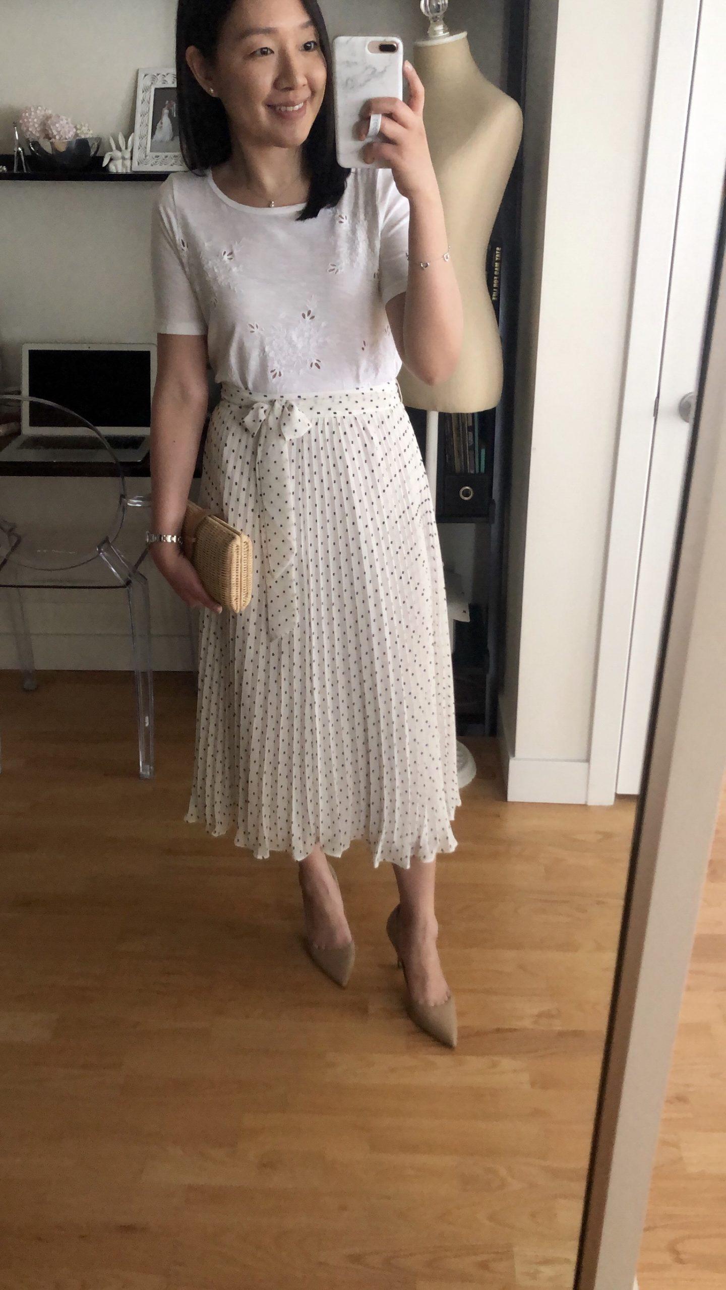 LOFT Tie Waist Pleated Midi Skirt, size 00 regular
