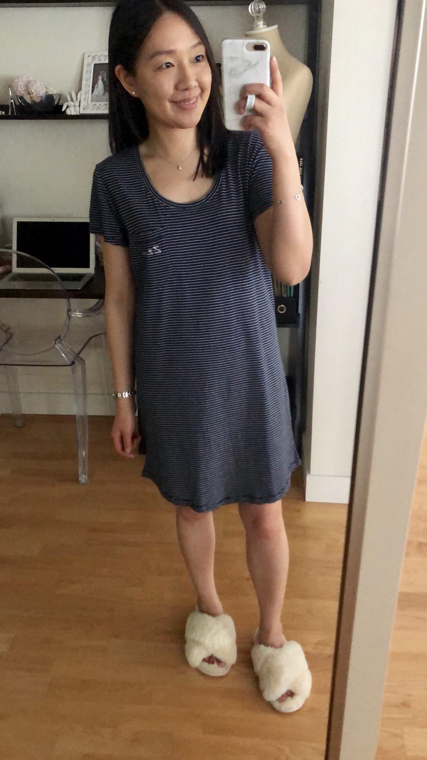 LOFT Striped Pajama Tee Dress, size XXS regular
