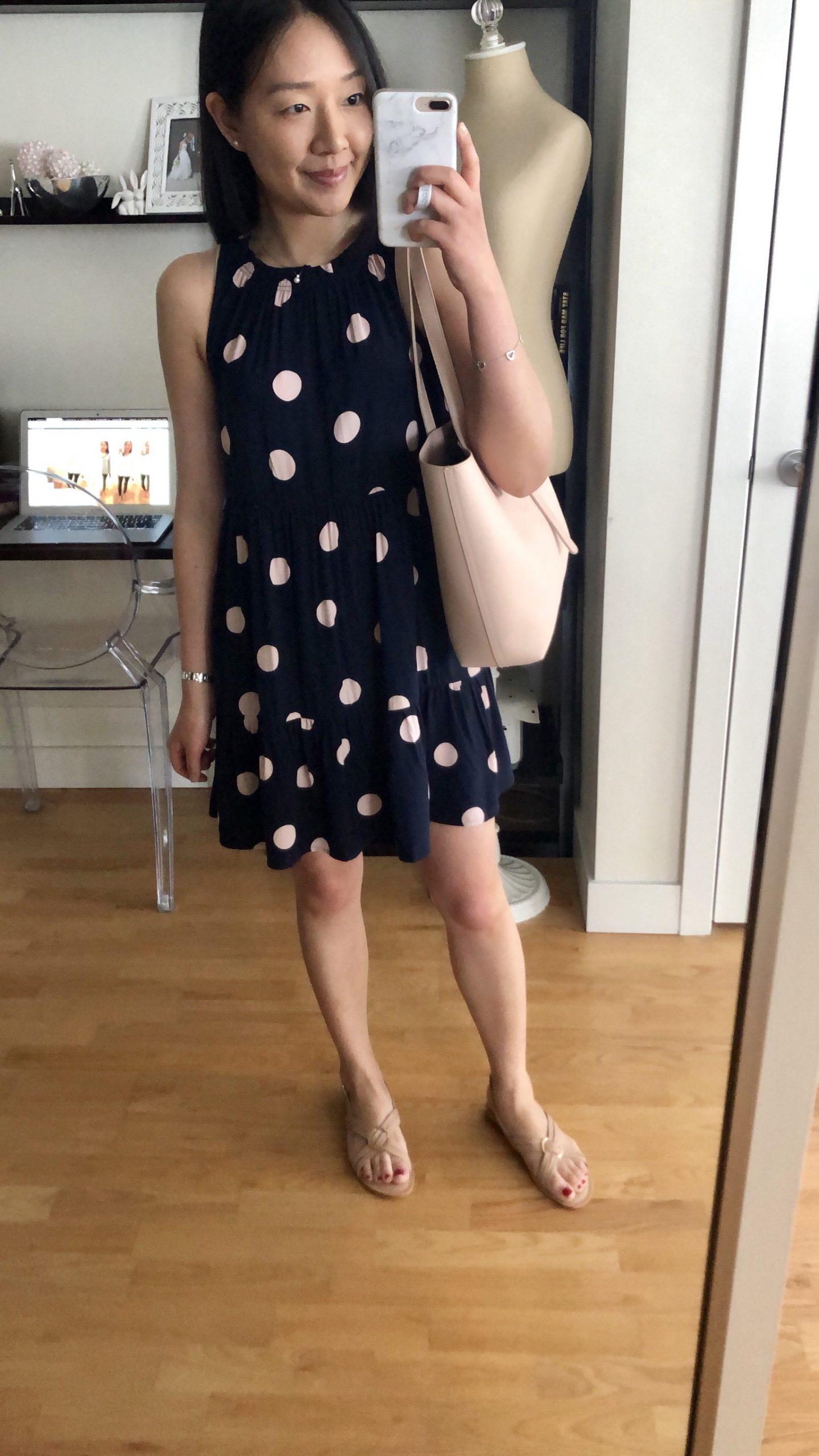 LOFT Dot Tiered Swing Dress, size XSP