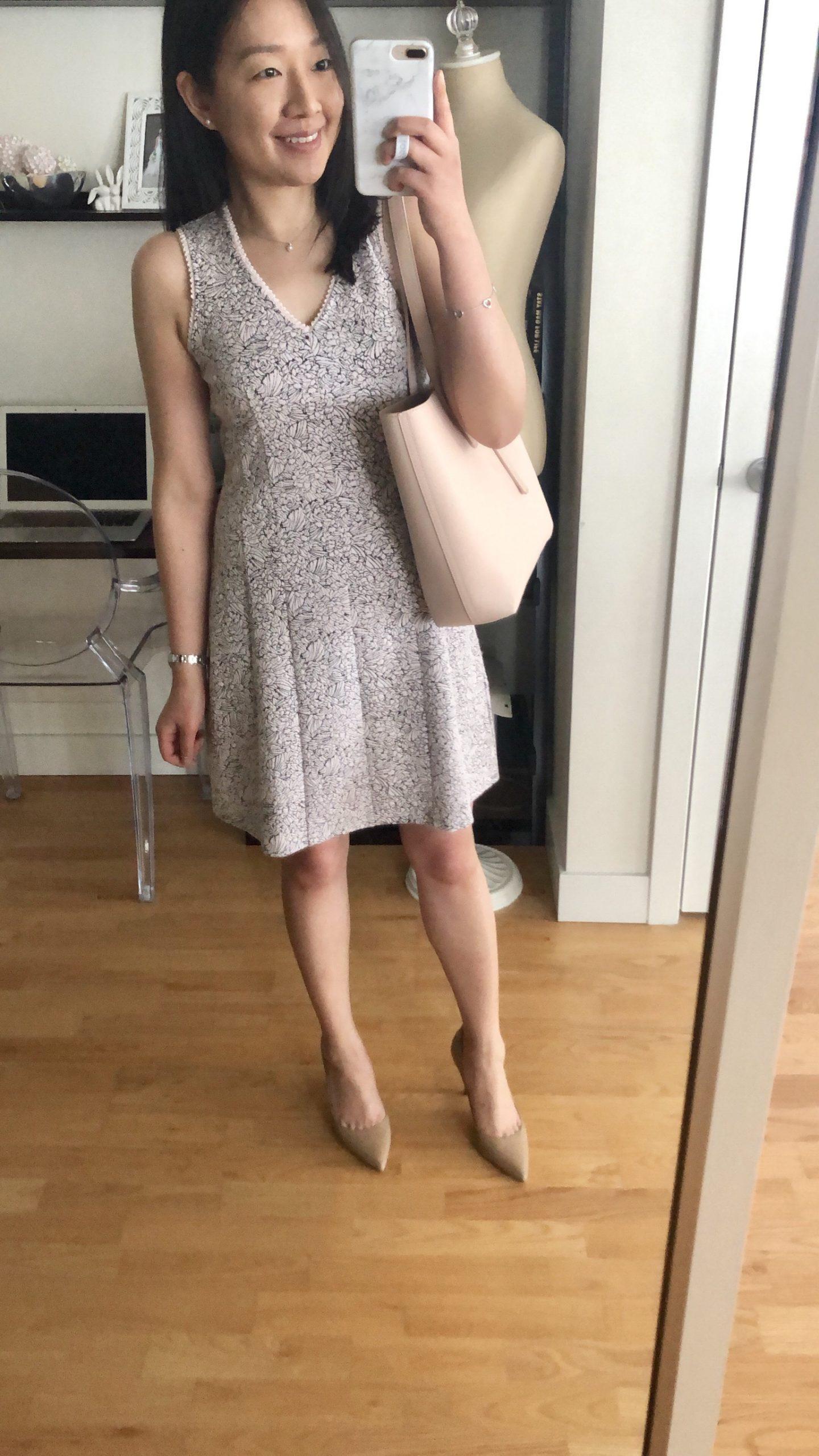 LOFT Rose Knit Jacquard Flare Dress, size 0P