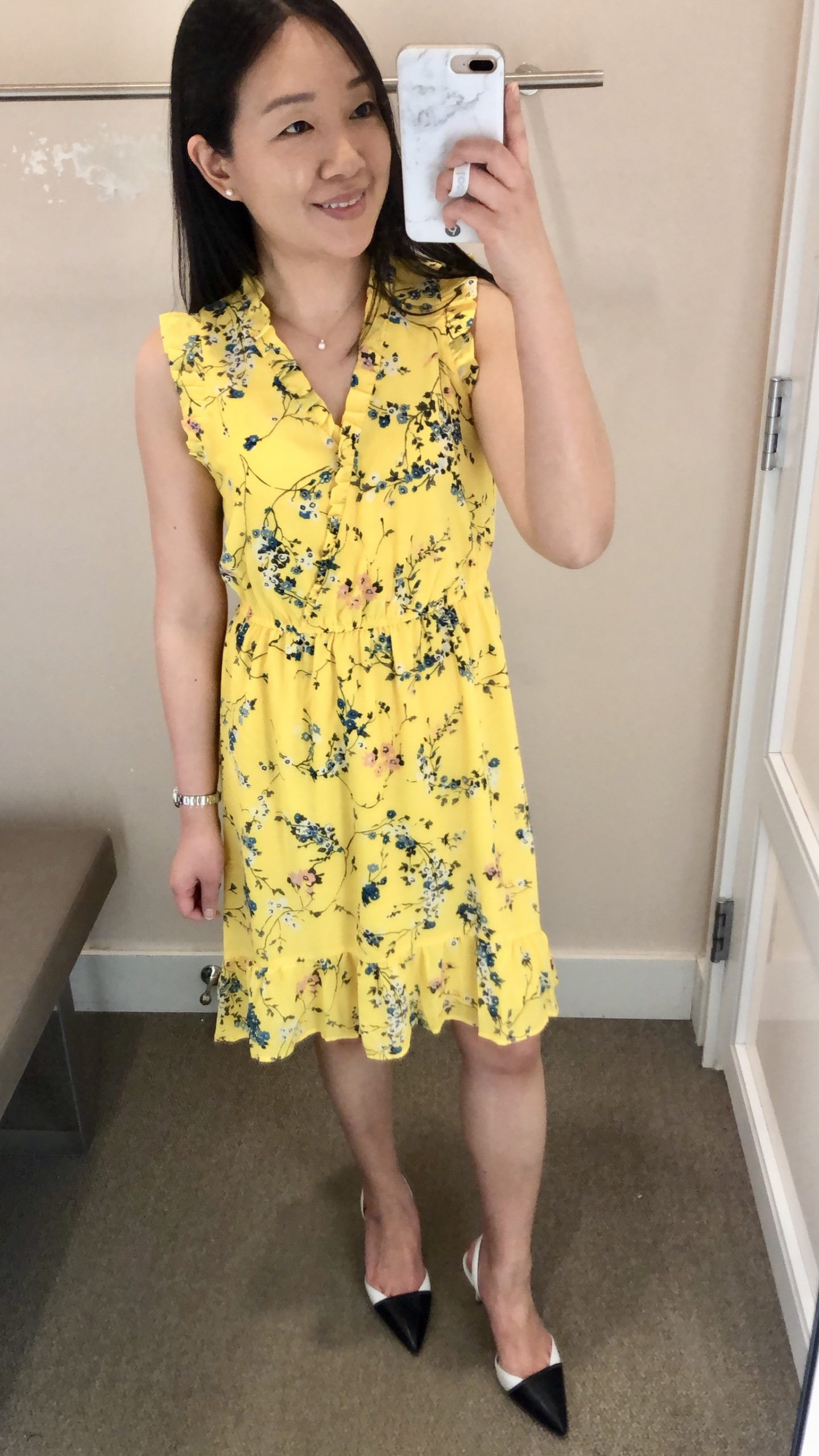 LOFT Floral Ruffle Flounce Dress, size 0P