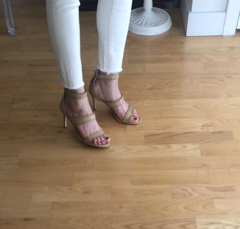 Ann Taylor Raina Scalloped Leather Heeled Sandals
