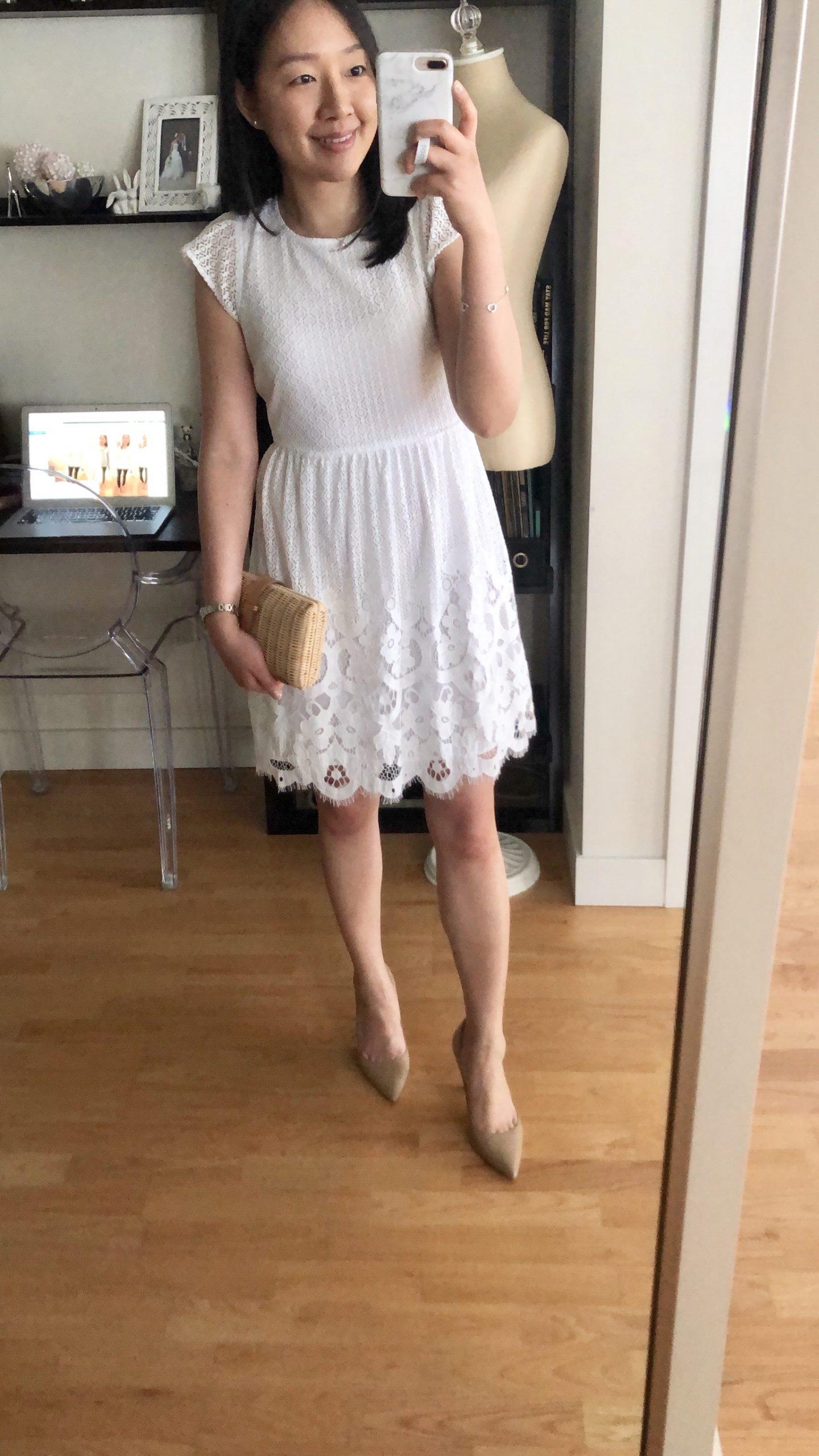 LOFT Lace Dot Dress, size 0P