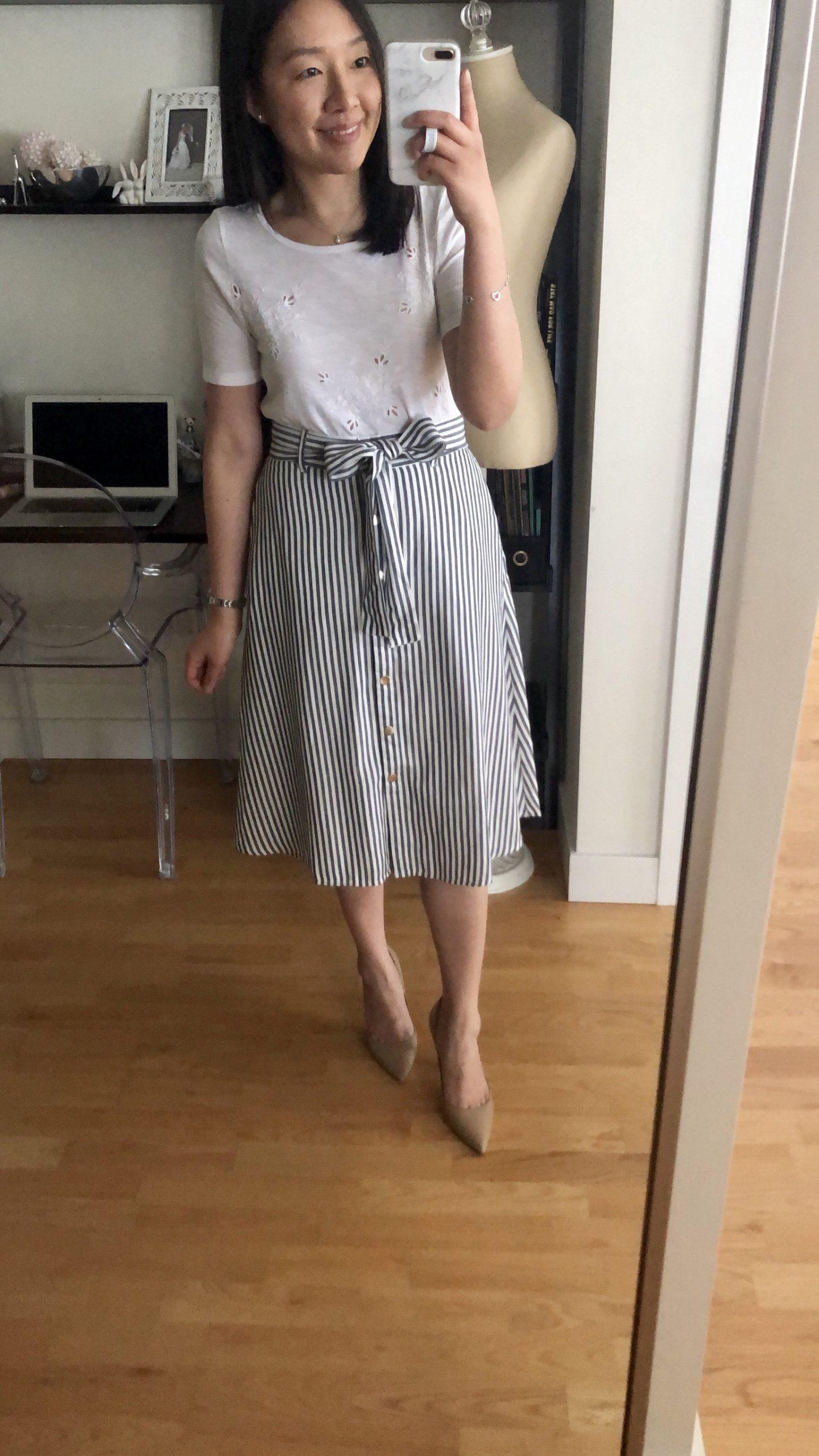 LOFT Striped Tie Waist Button Front Skirt, size 0 regular