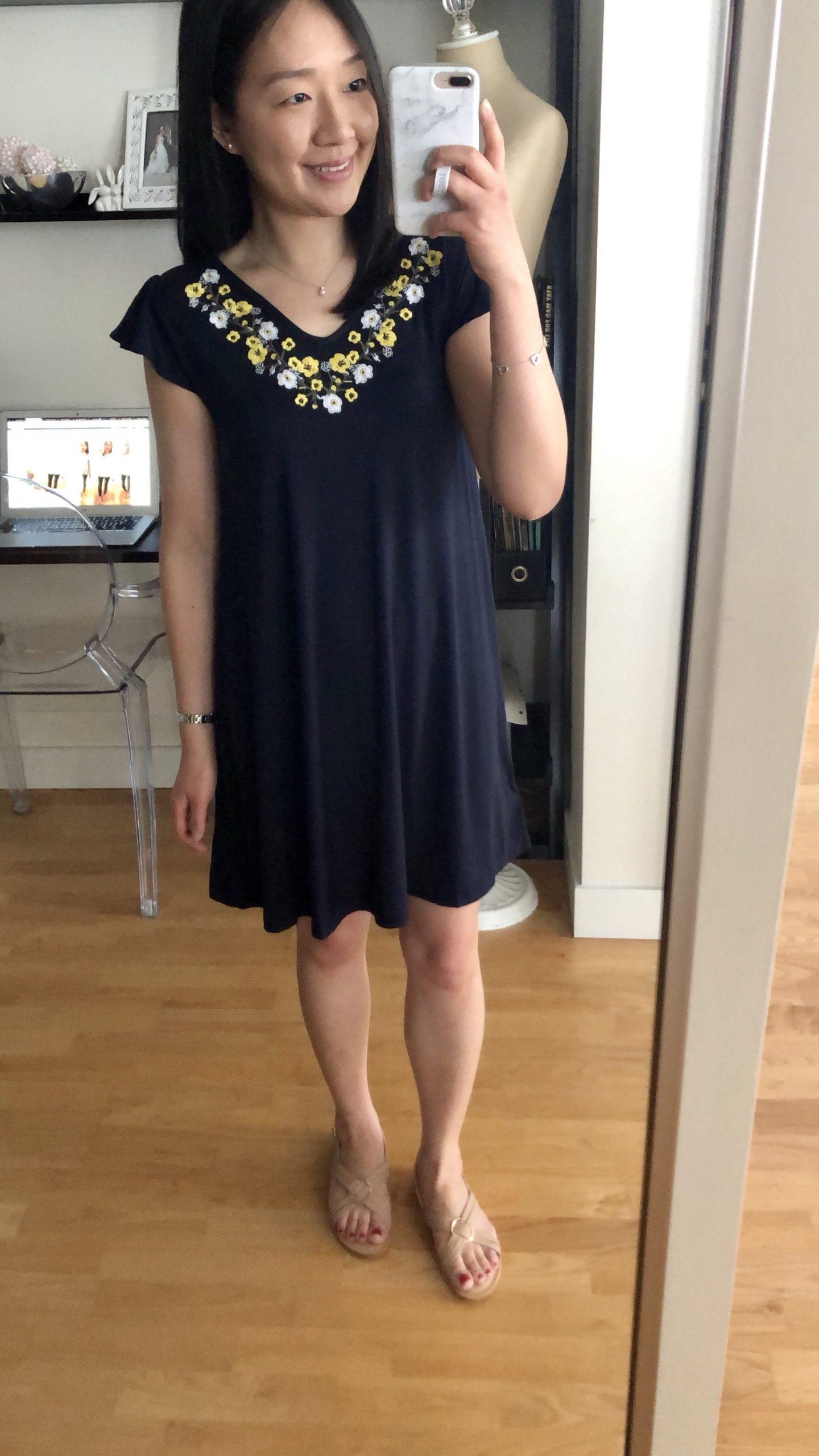 LOFT Embroidered Flutter Swing Dress, size XSP