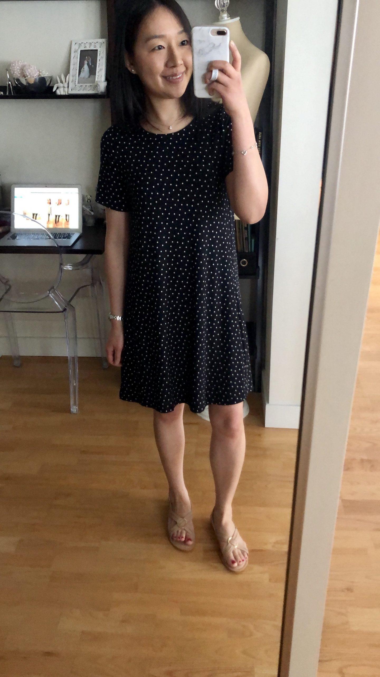 LOFT Dotted Short Sleeve Swing Dress, size XSP