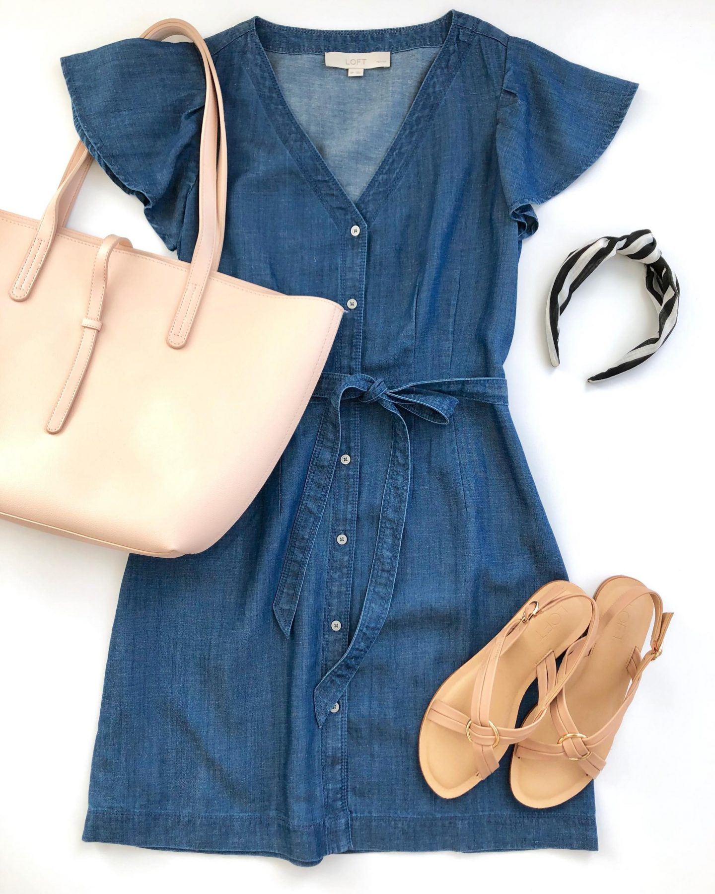 LOFT CHAMBRAY FLUTTER TIE WAIST SHIRTDRESS