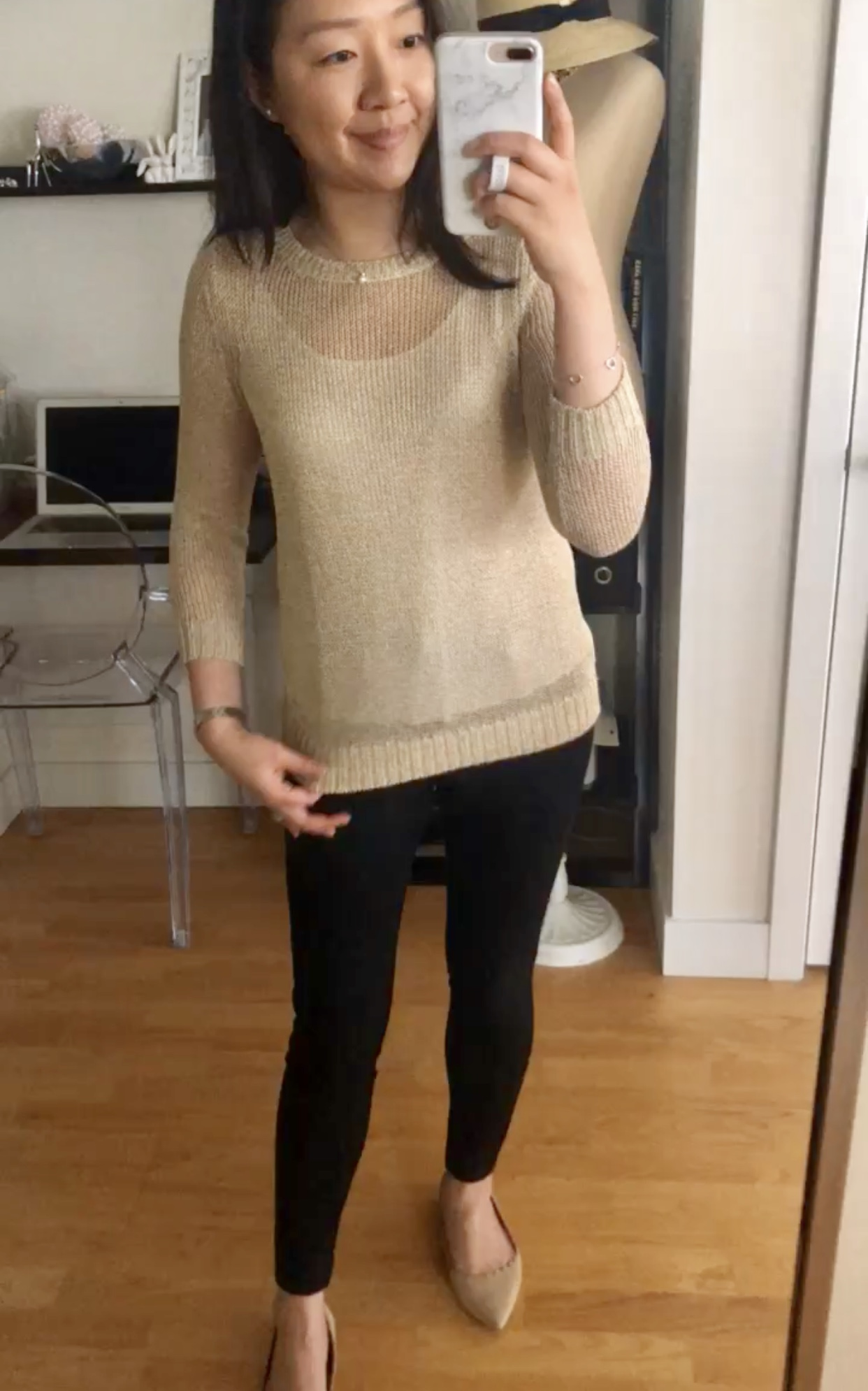 LOFT Shimmer Open Knit Sweater, size XSP
