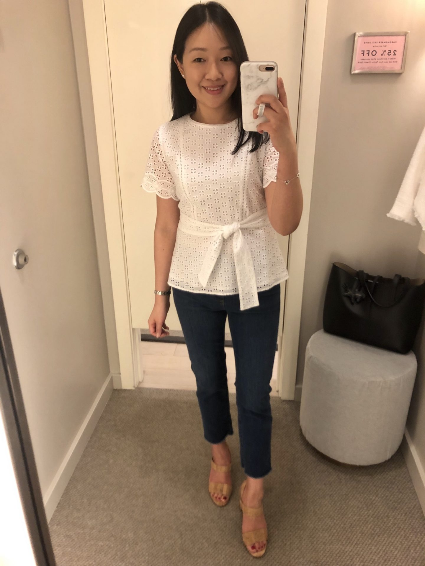 Ann Taylor Belted Eyelet Top, size 0P