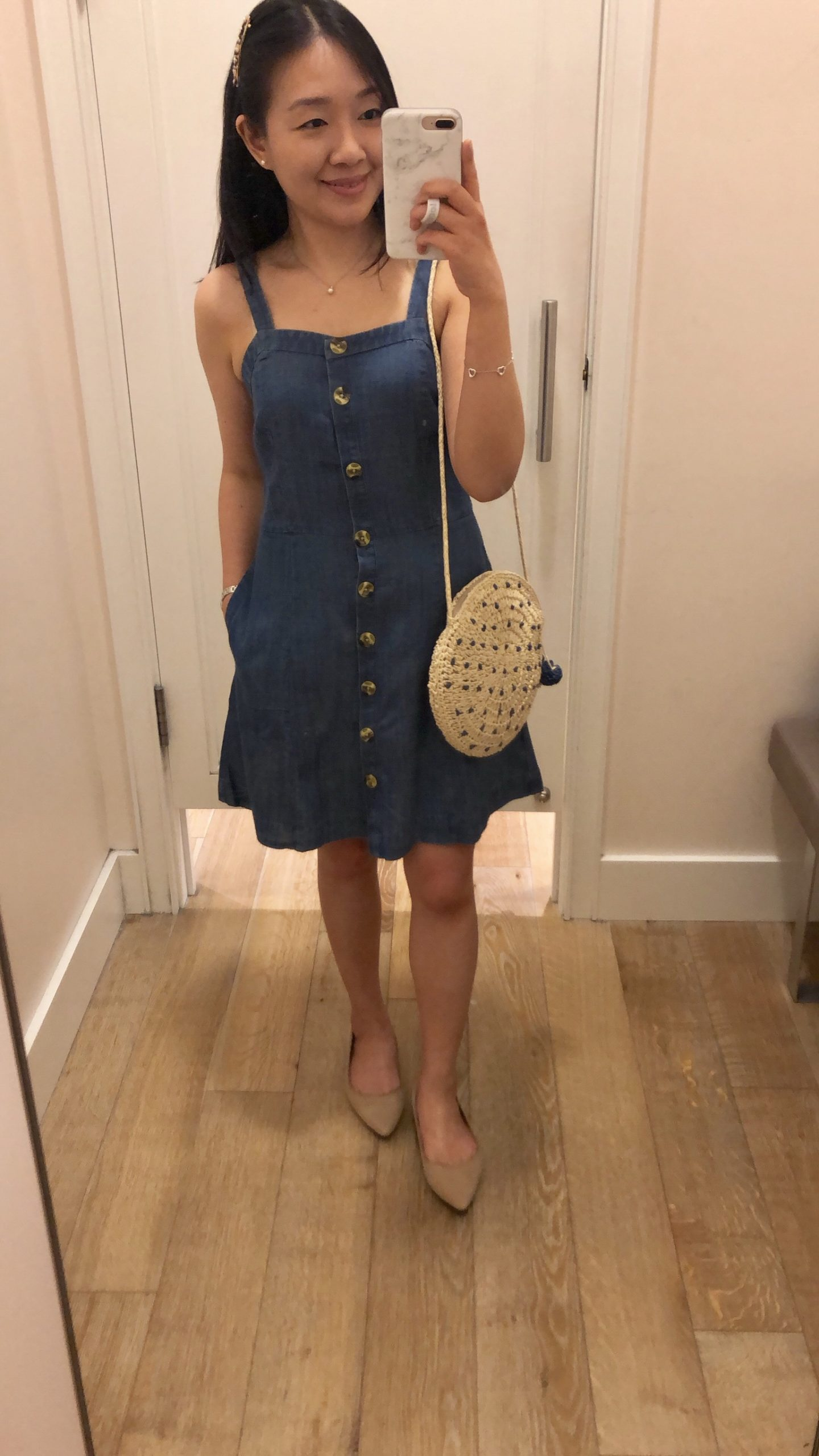 LOFT Chambray Button Down Pocket Dress, size 0 regular