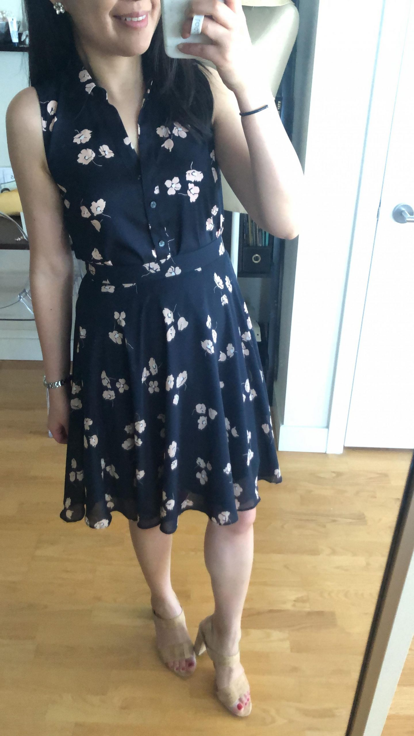 Ann Taylor Chiffon Floral Full Skirt, size 0P