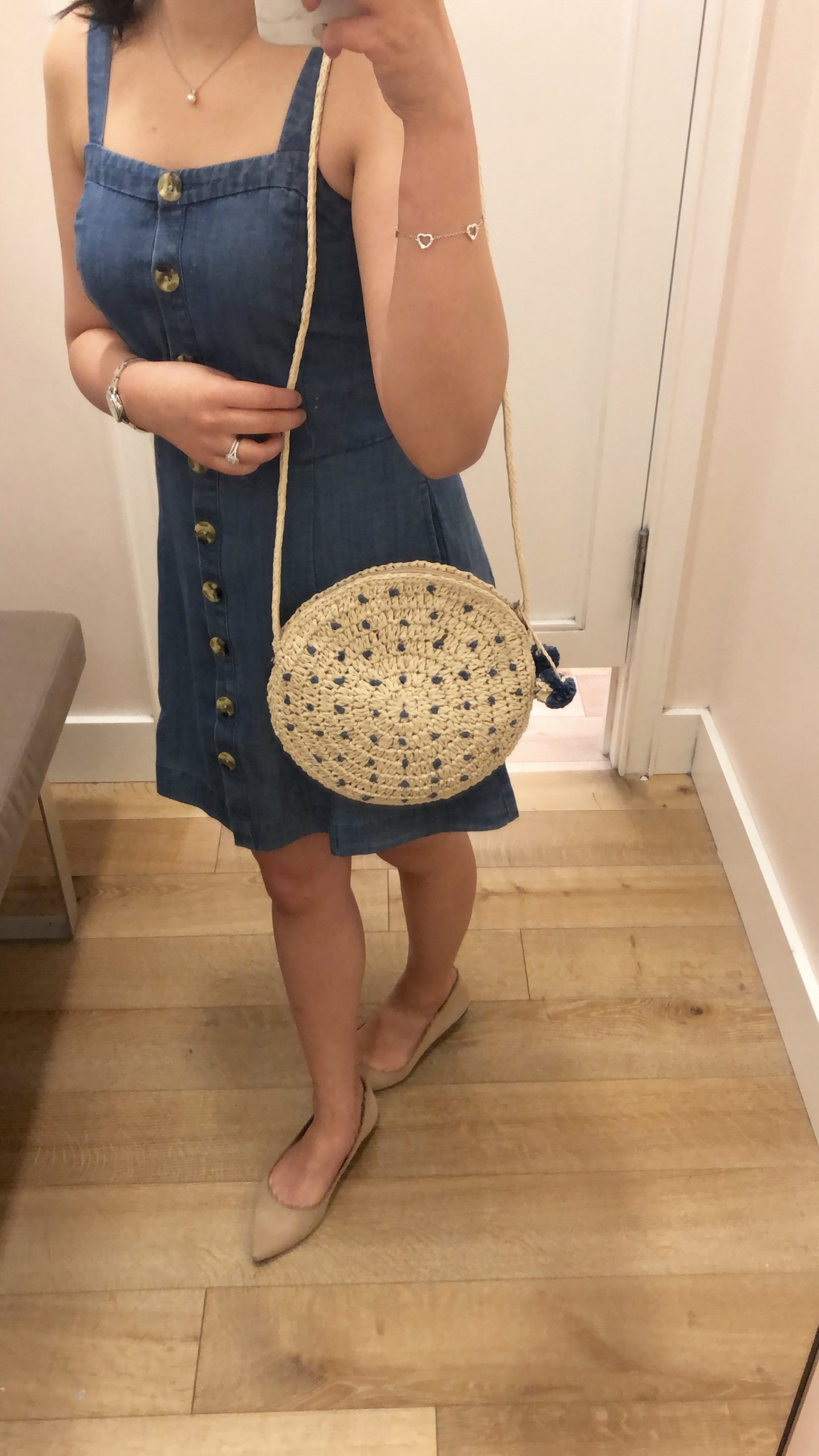 LOFT Pom Pom Straw Circle Crossbody Bag