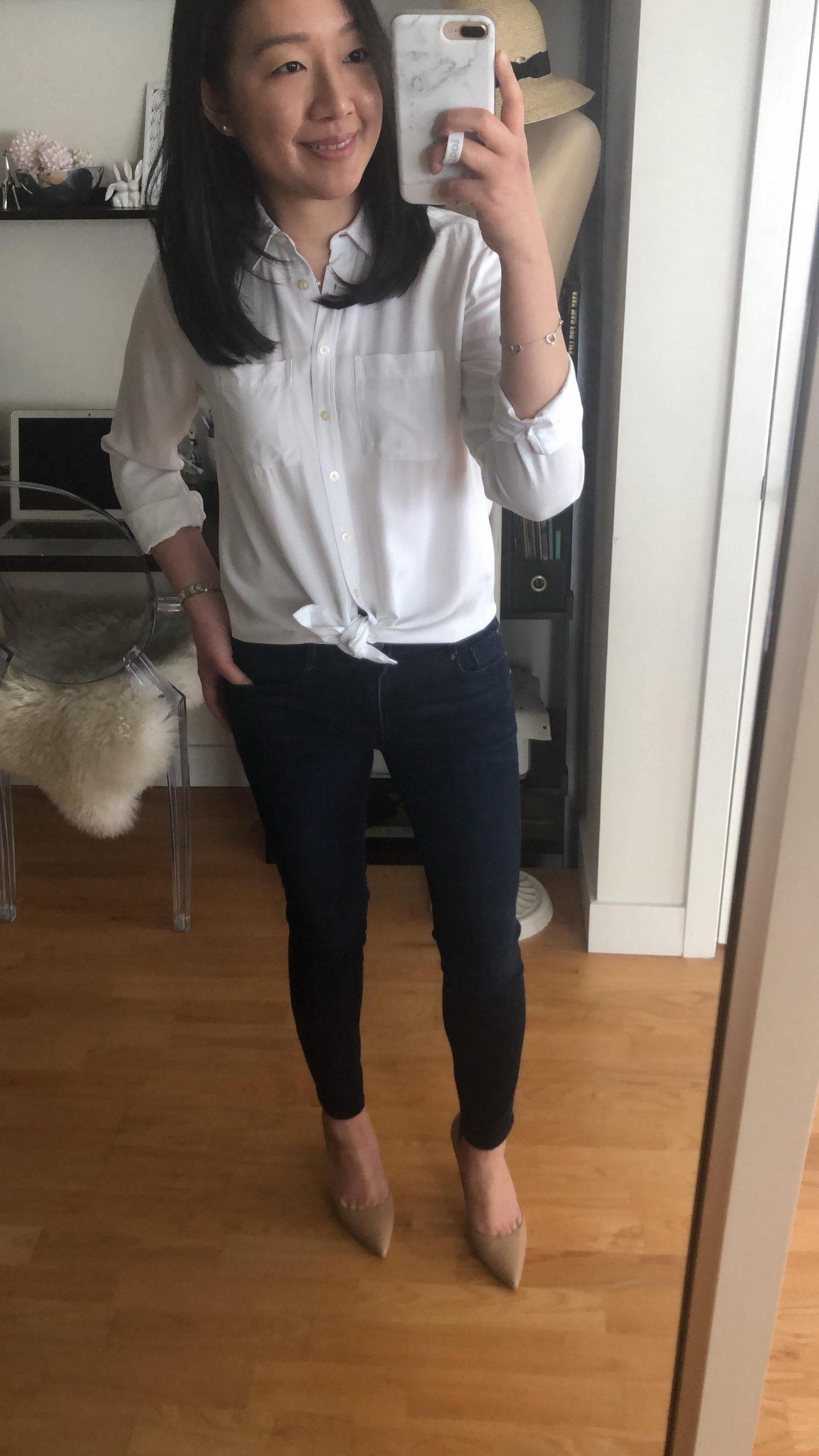 LOFT Collared Perfect White Shirt, size XSP