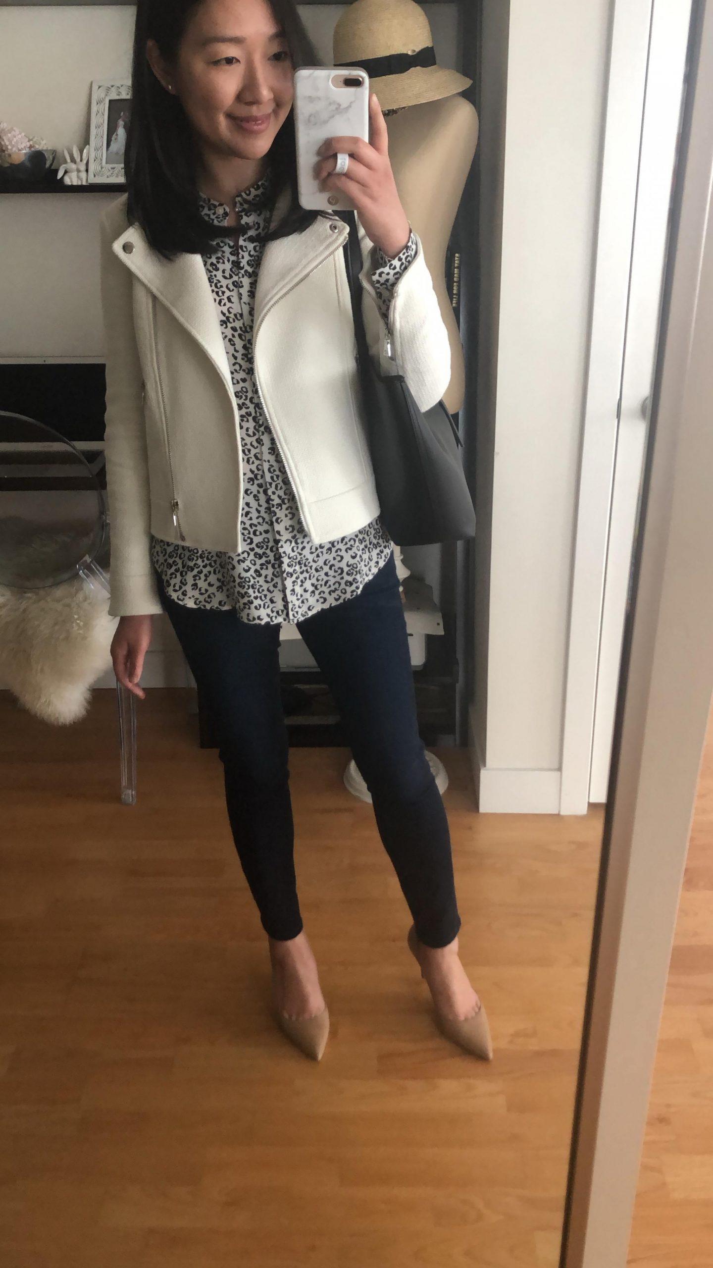 Ann Taylor Textured Tweed Moto Jacket, size 00P