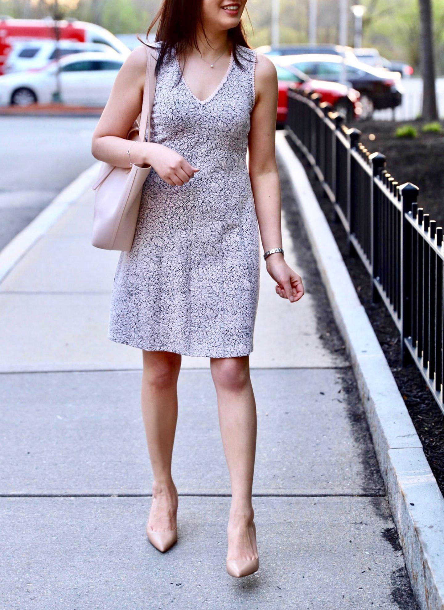 LOFT Rose Jacquard Flare Dress