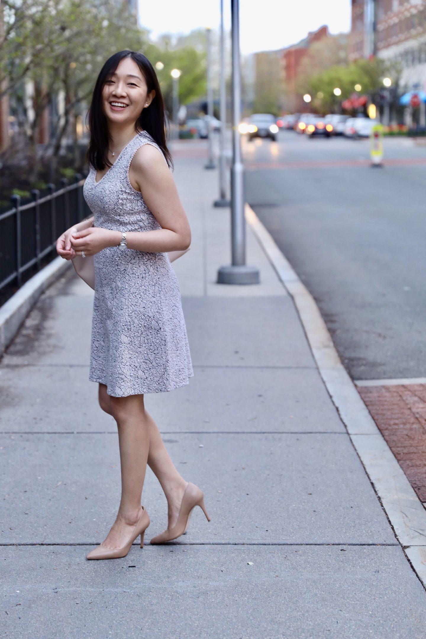 LOFT Rose Knit Jacquard Flare Dress