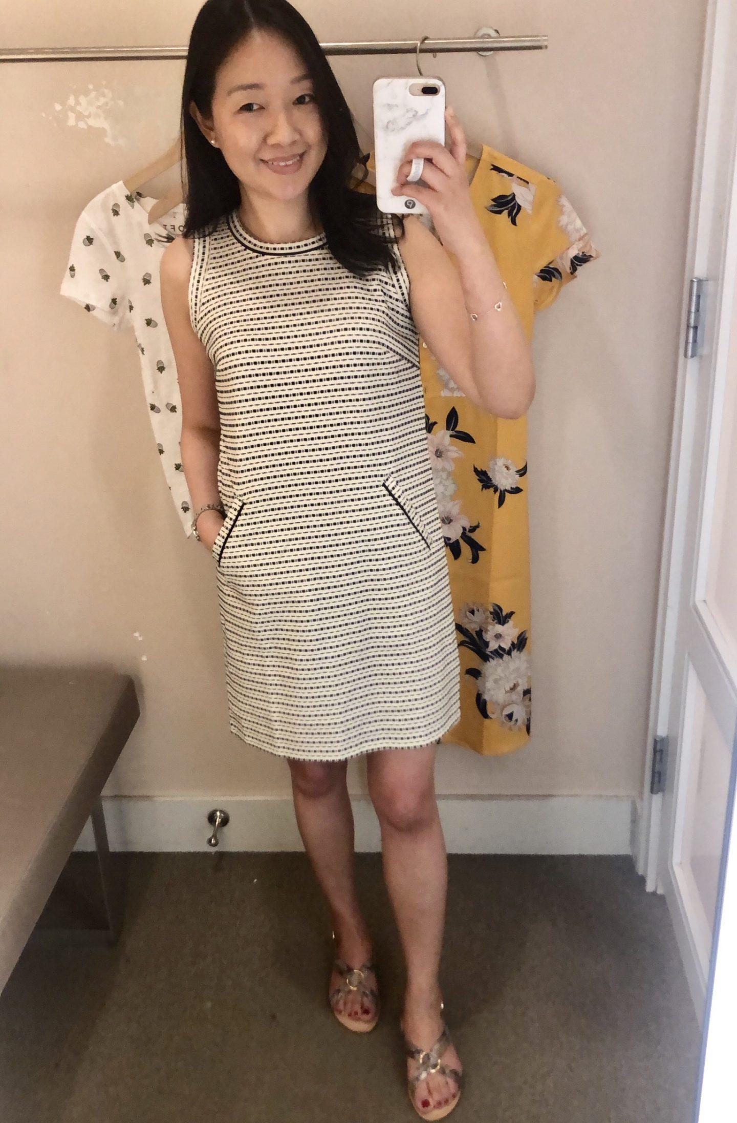 LOFT Striped Tweed Pocket Shift Dress, size XSP