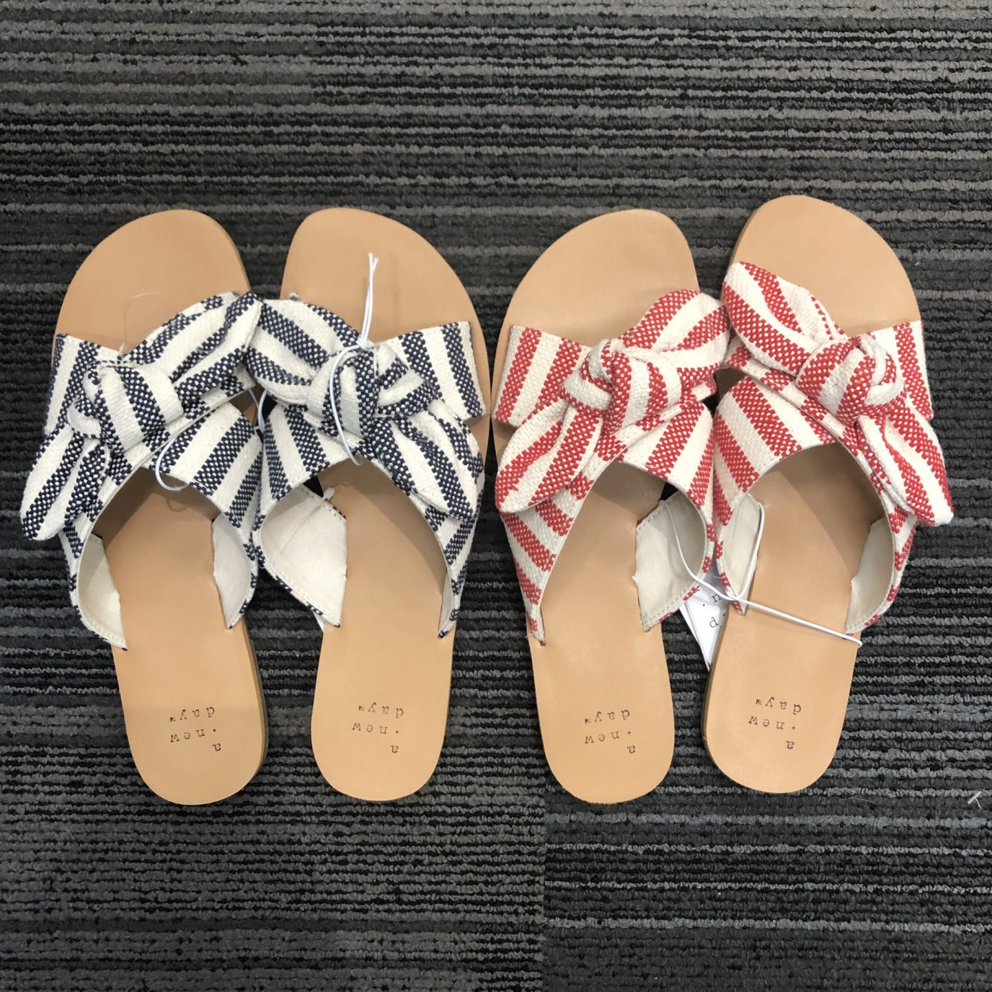 Livia Striped Knotted Bow Slide Sandals - A New Day™