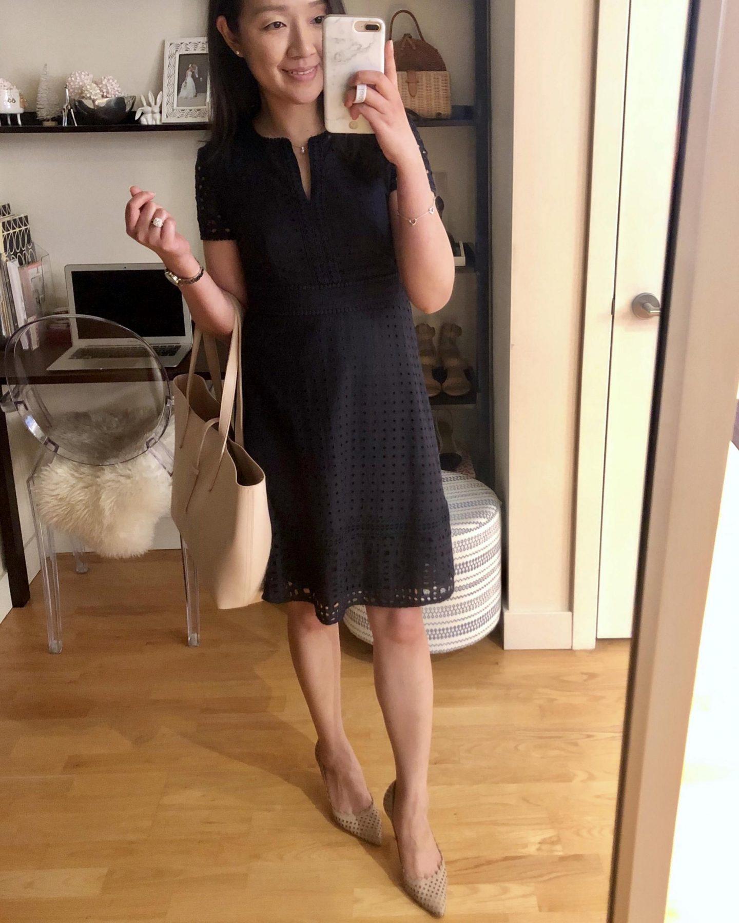 Ann Taylor Mixed Eyelet Flare Dress, size 0P