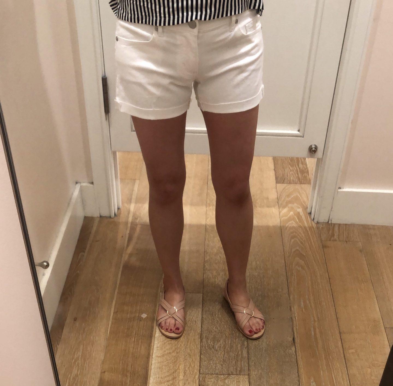 LOFT Cut Flip Cuff Denim Shorts in White, size 24/00 regular