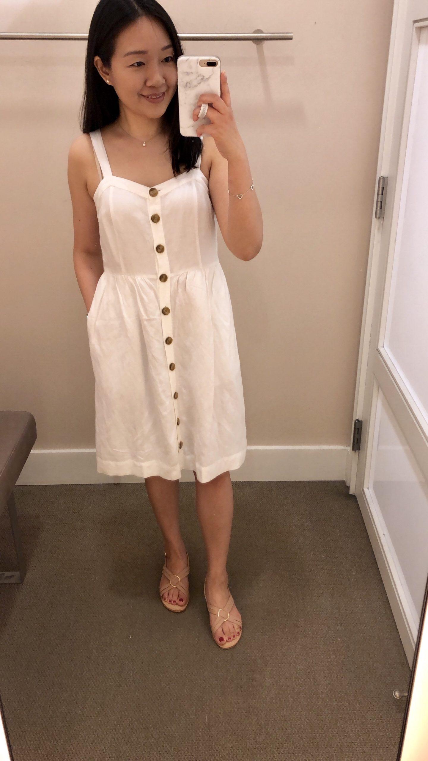 LOFT Striped Button Down Flare Dress, size 2P