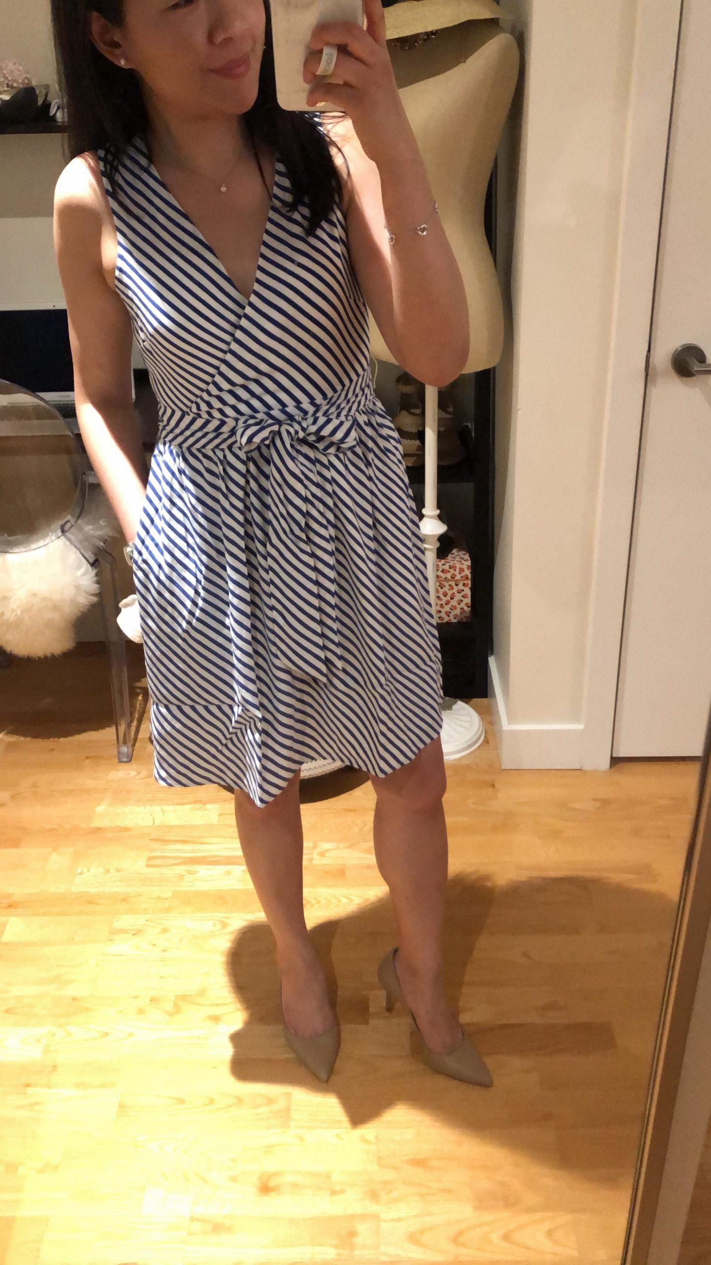 LOFT Striped Flare Wrap Dress, size 0P