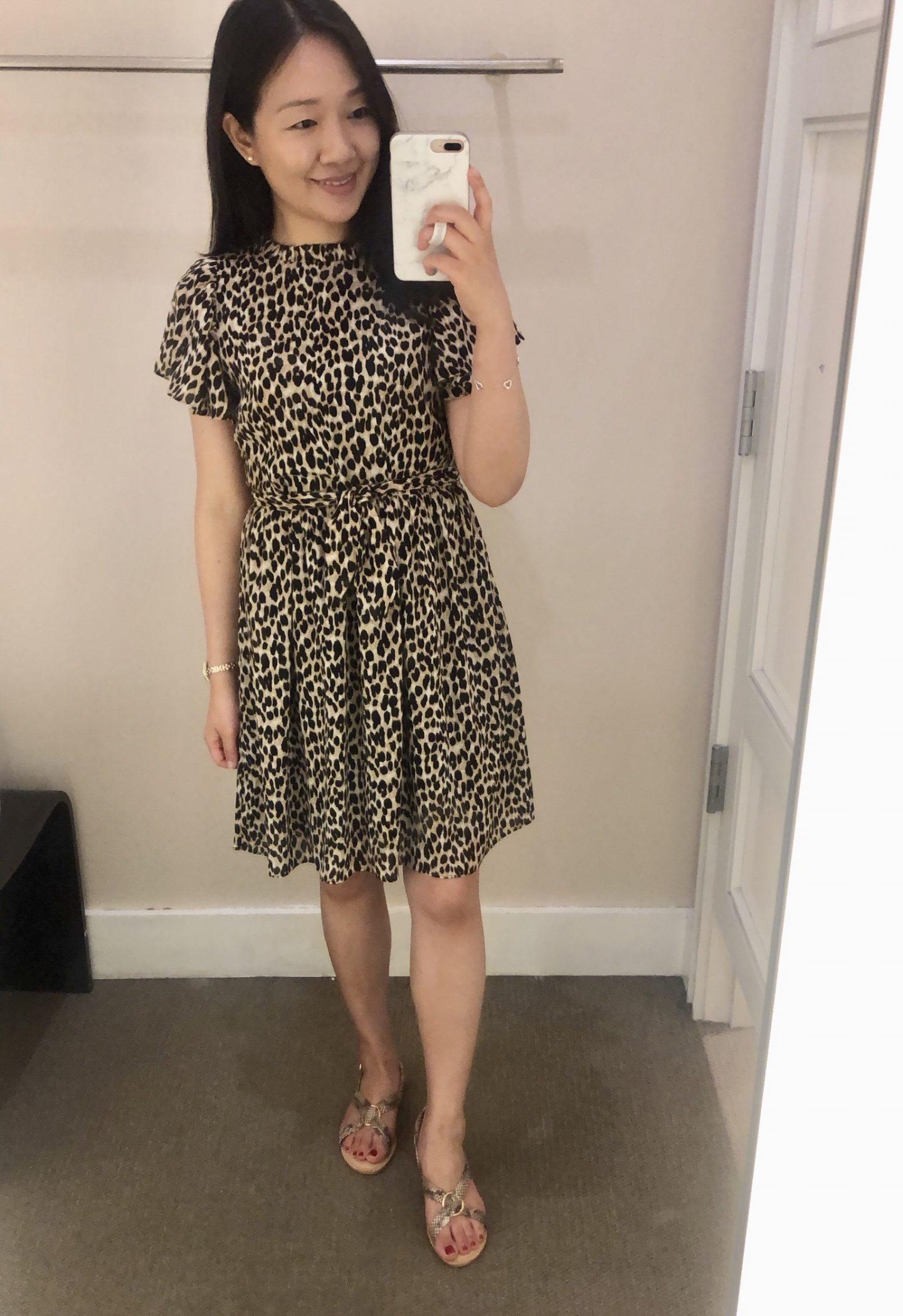 LOFT Leopard Print Tie Waist Flutter Dress, size XS regular