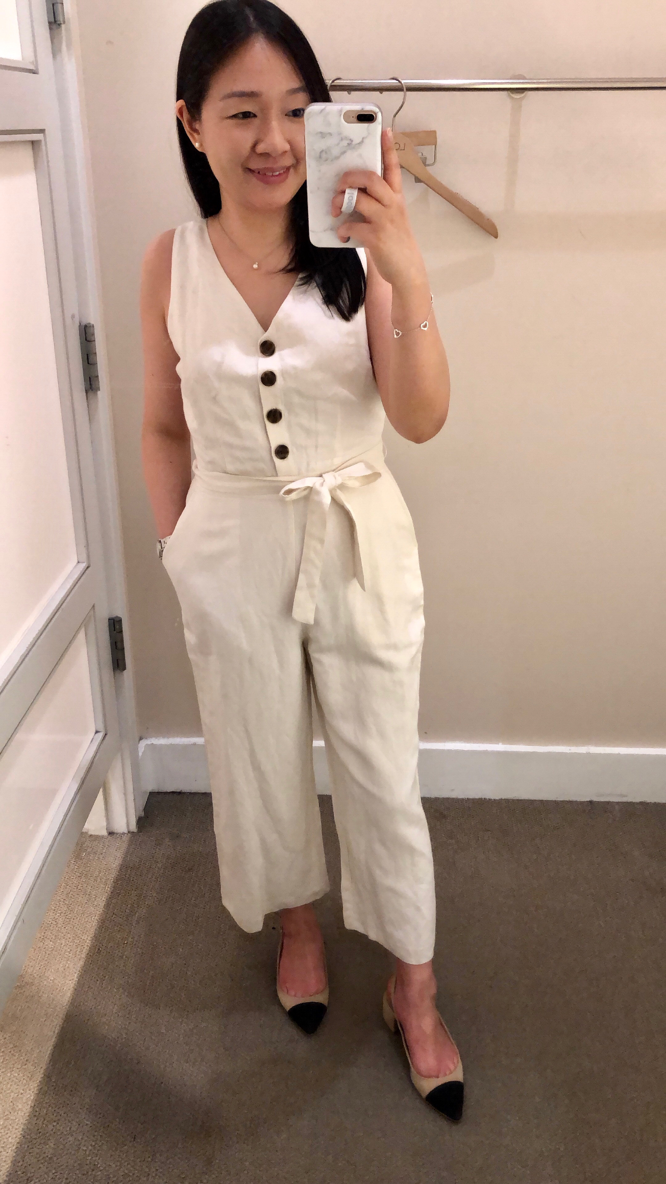 LOFT Tie Waist Button Jumpsuit, size 0P