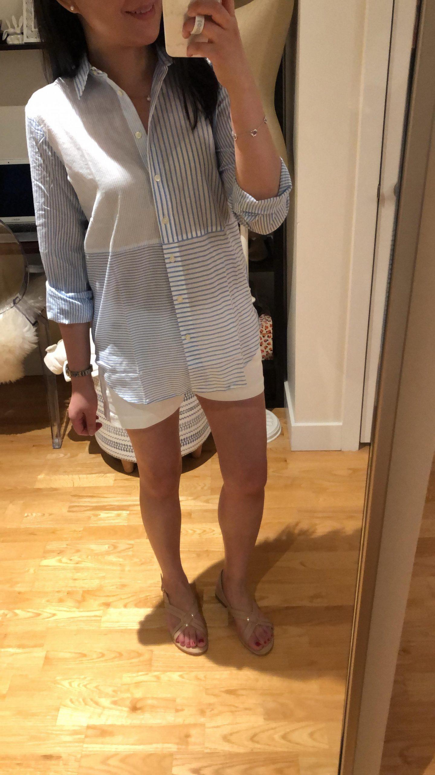 LOFT Mixed Stripe Button Down Tunic Shirt, size XXS regular