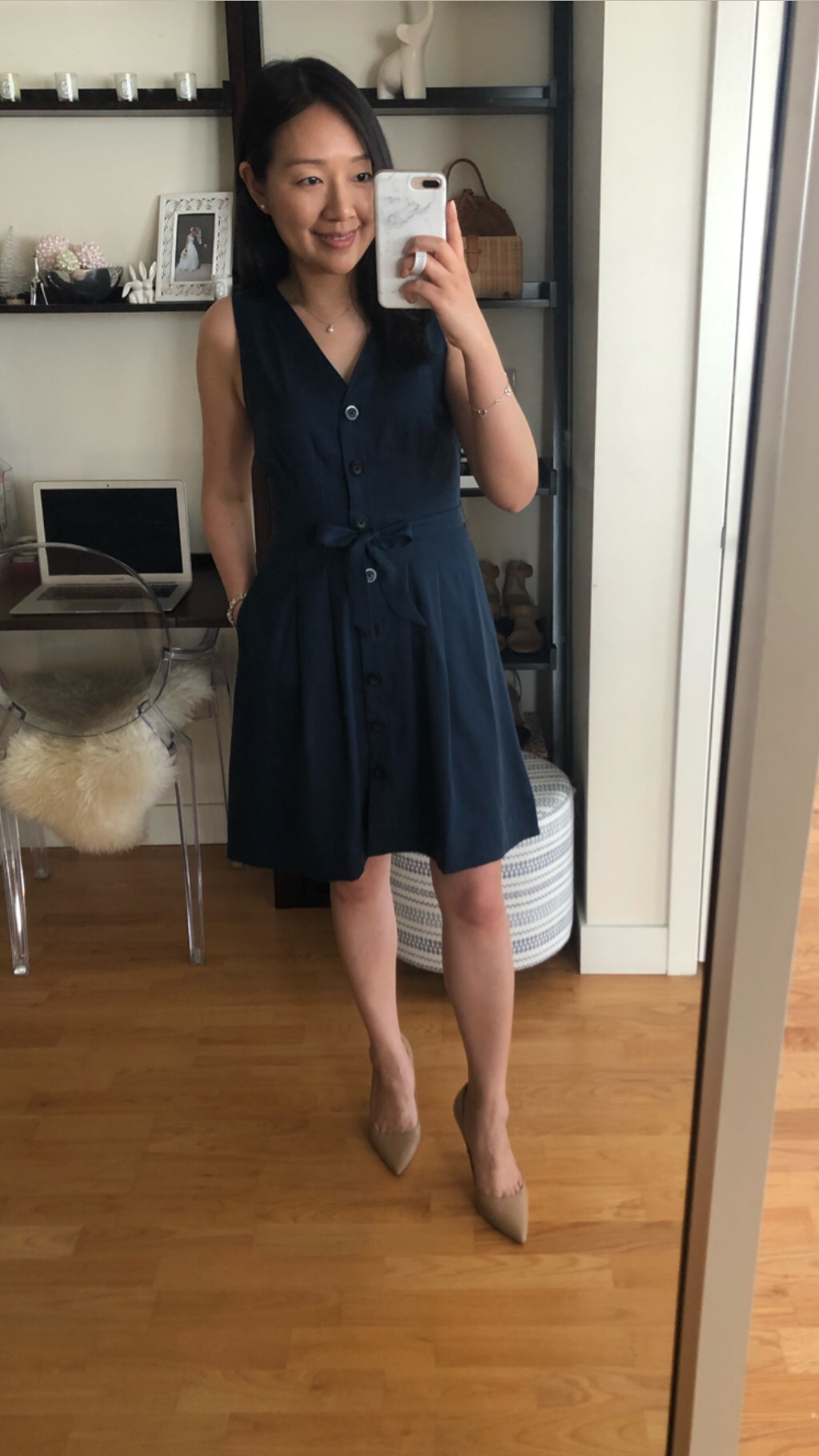 LOFT Button Down V-Neck Dress, size 0P