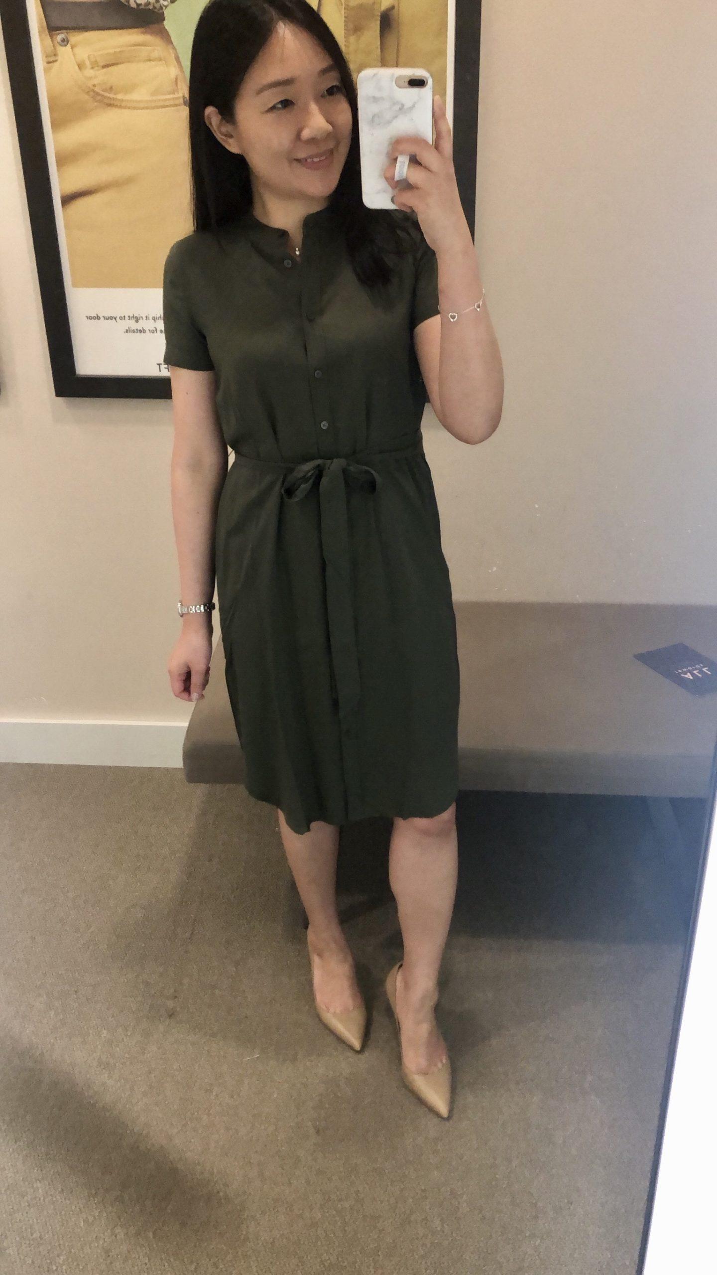 LOFT Tie Waist Shirtdress, size 00P