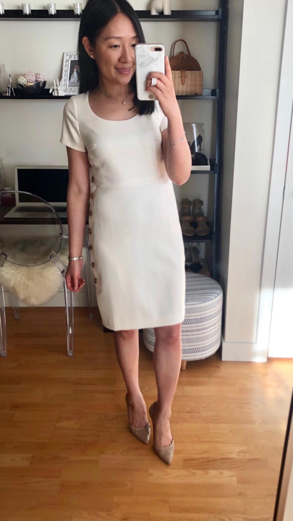 Ann Taylor Doubleweave Side Button Sheath Dress, size 0P