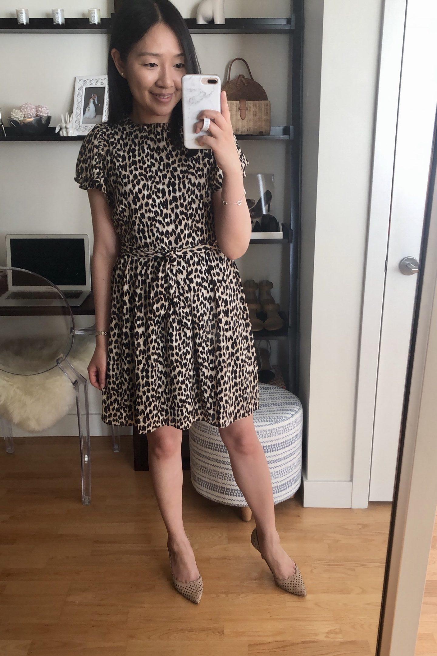 LOFT Leopard Print Tie Waist Flutter Dress, size XSP