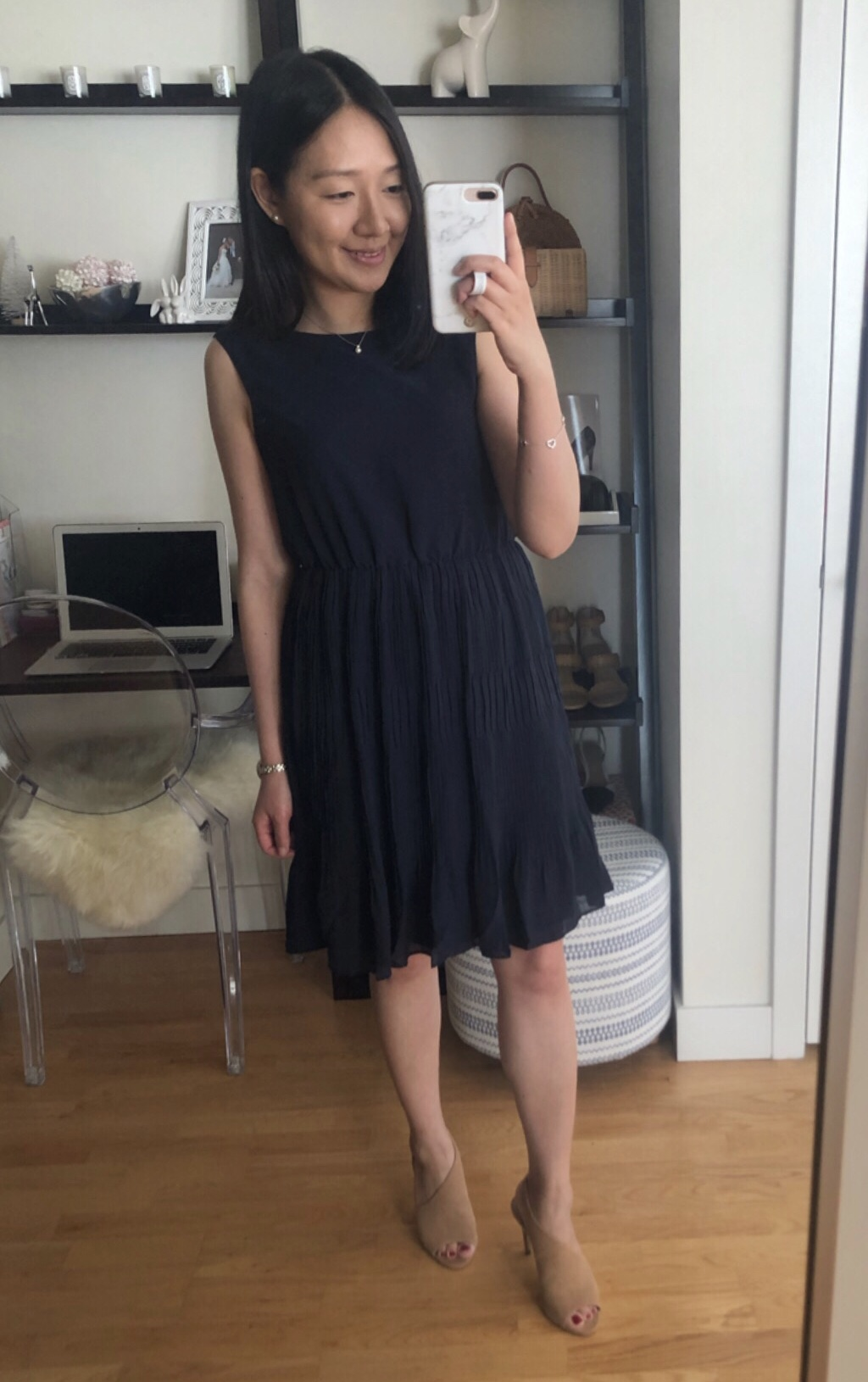 Ann Taylor Pleated Flare Dress, size 0P