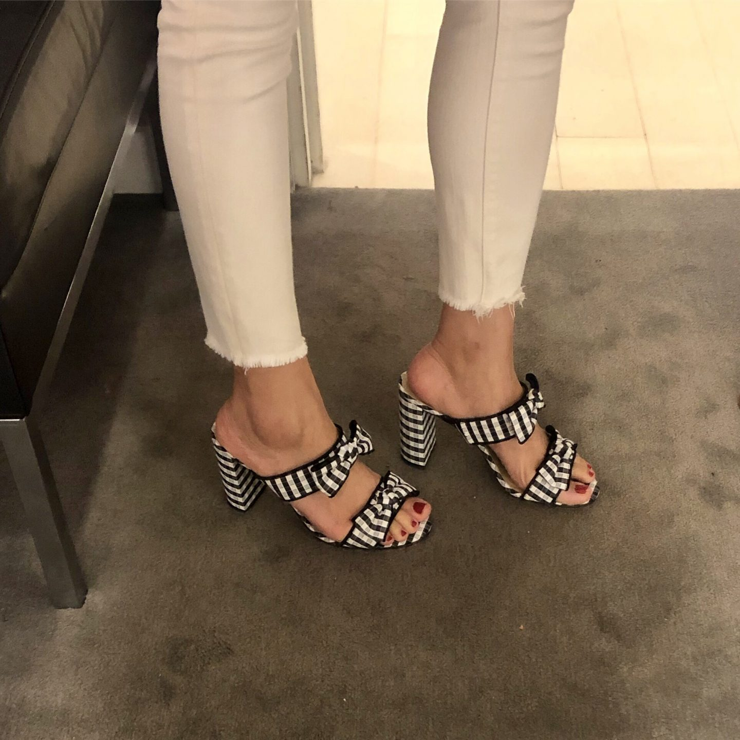 Ann Taylor Janie Gingham Heeled Sandals