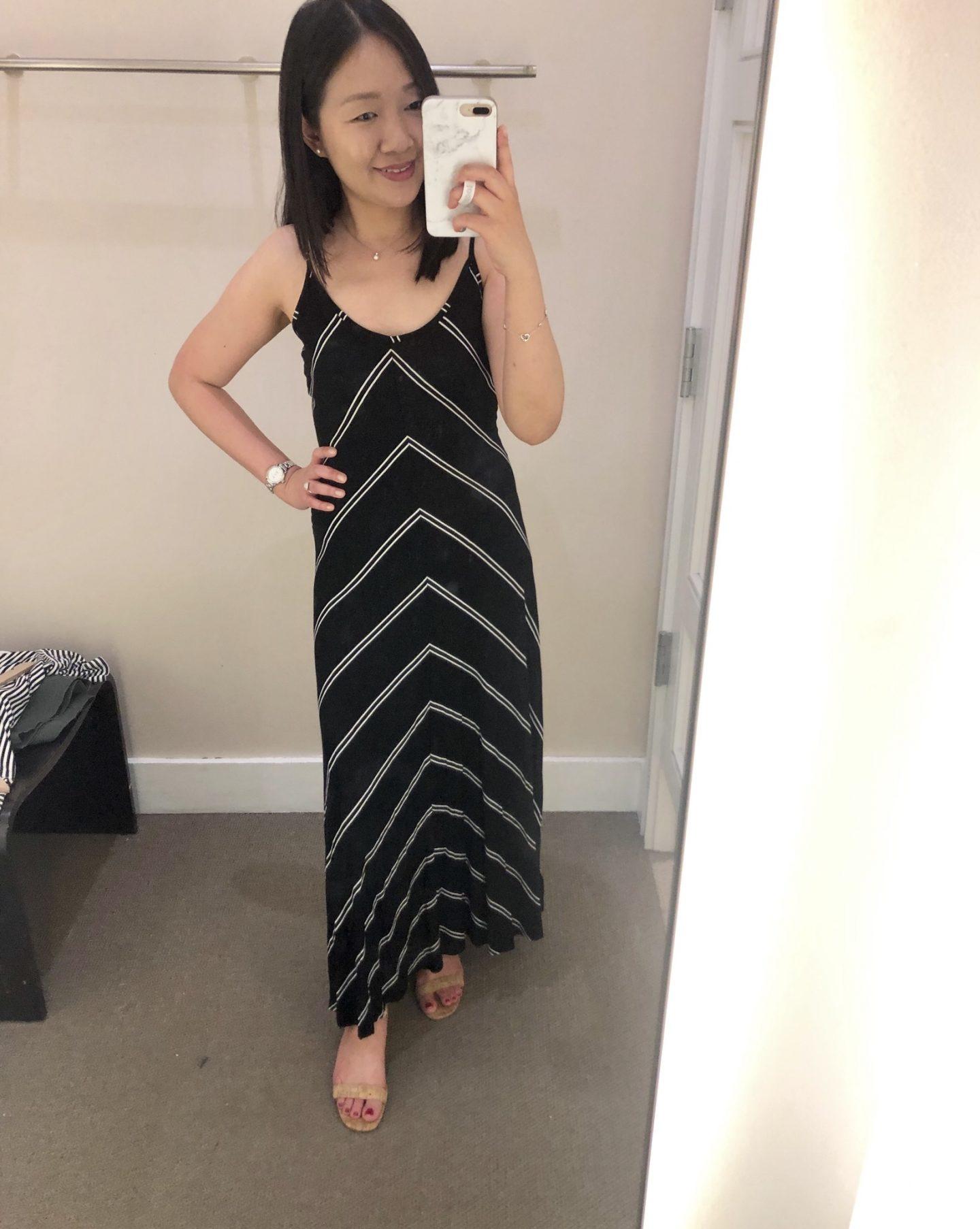 LOFT Chevron Maxi Dress, size XSP