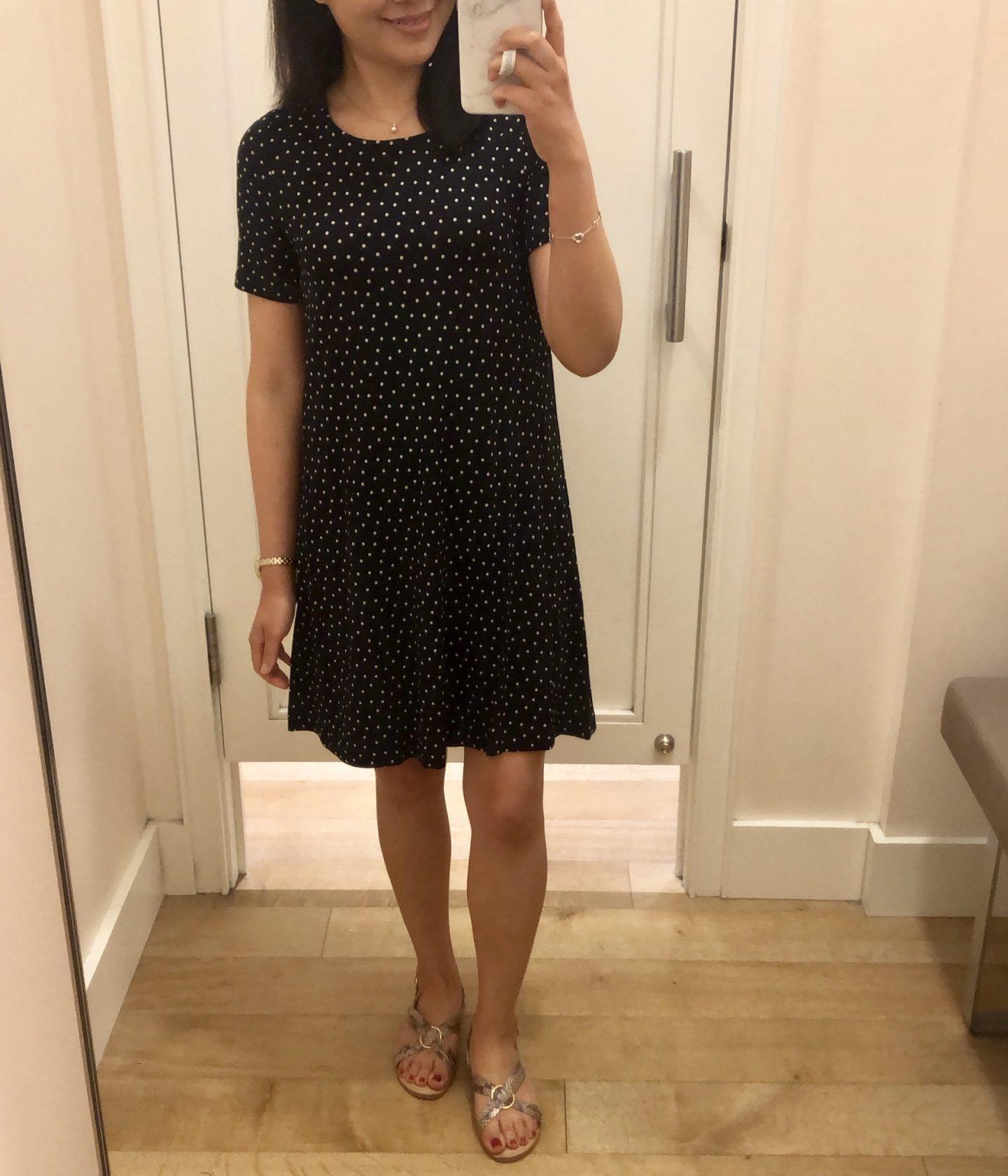 LOFT Dotted Short Sleeve Swing Dress, size XXSP