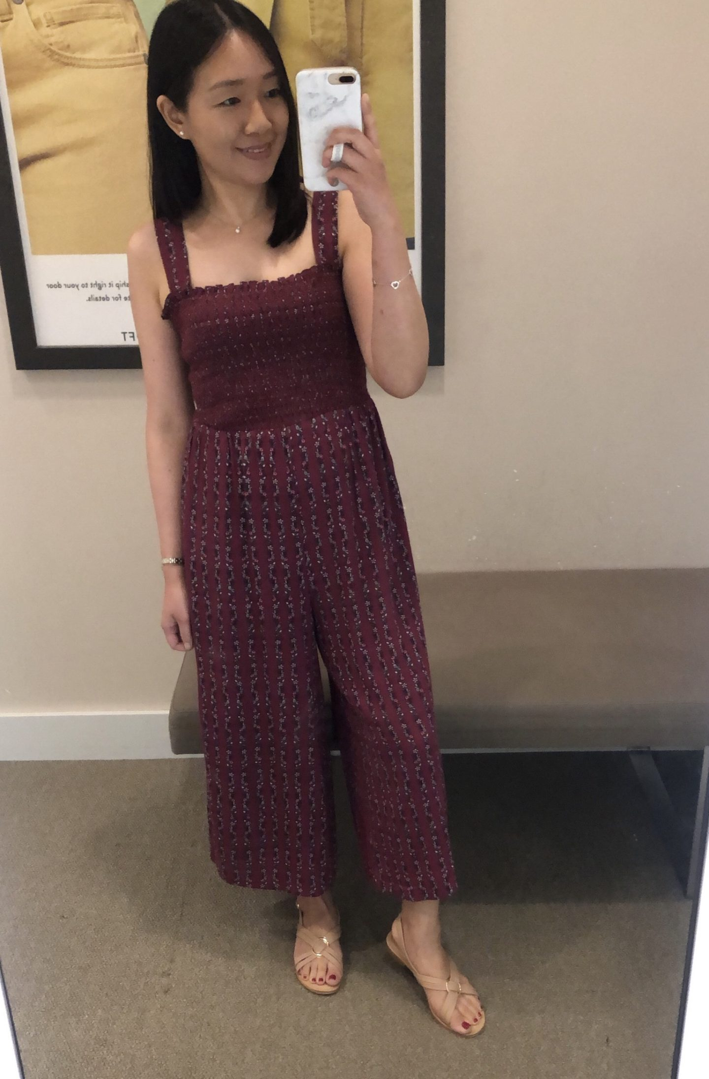 LOFT Smocked Wide Leg Crop Jumpsuit, size SP