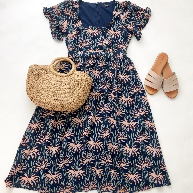 Madewell Ruffle-Sleeve Midi Dress in Oasis Palms